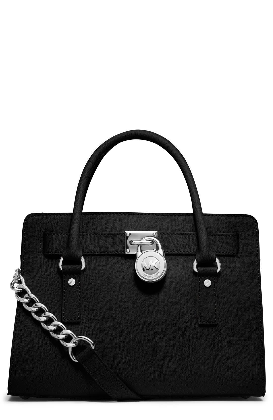 'Medium Hamilton' Saffiano Leather Satchel, Main, color, 001