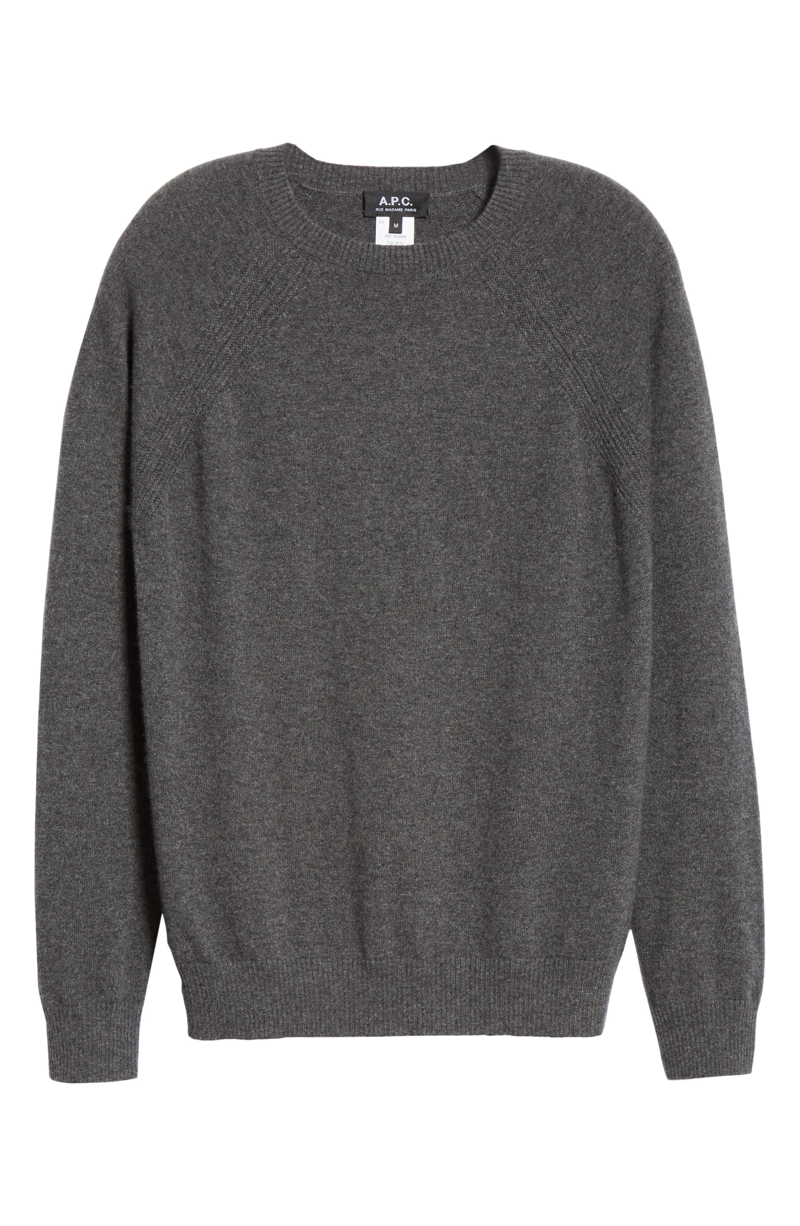 Cashmere Crewneck Sweater,                             Alternate thumbnail 6, color,                             ANTHRACITE