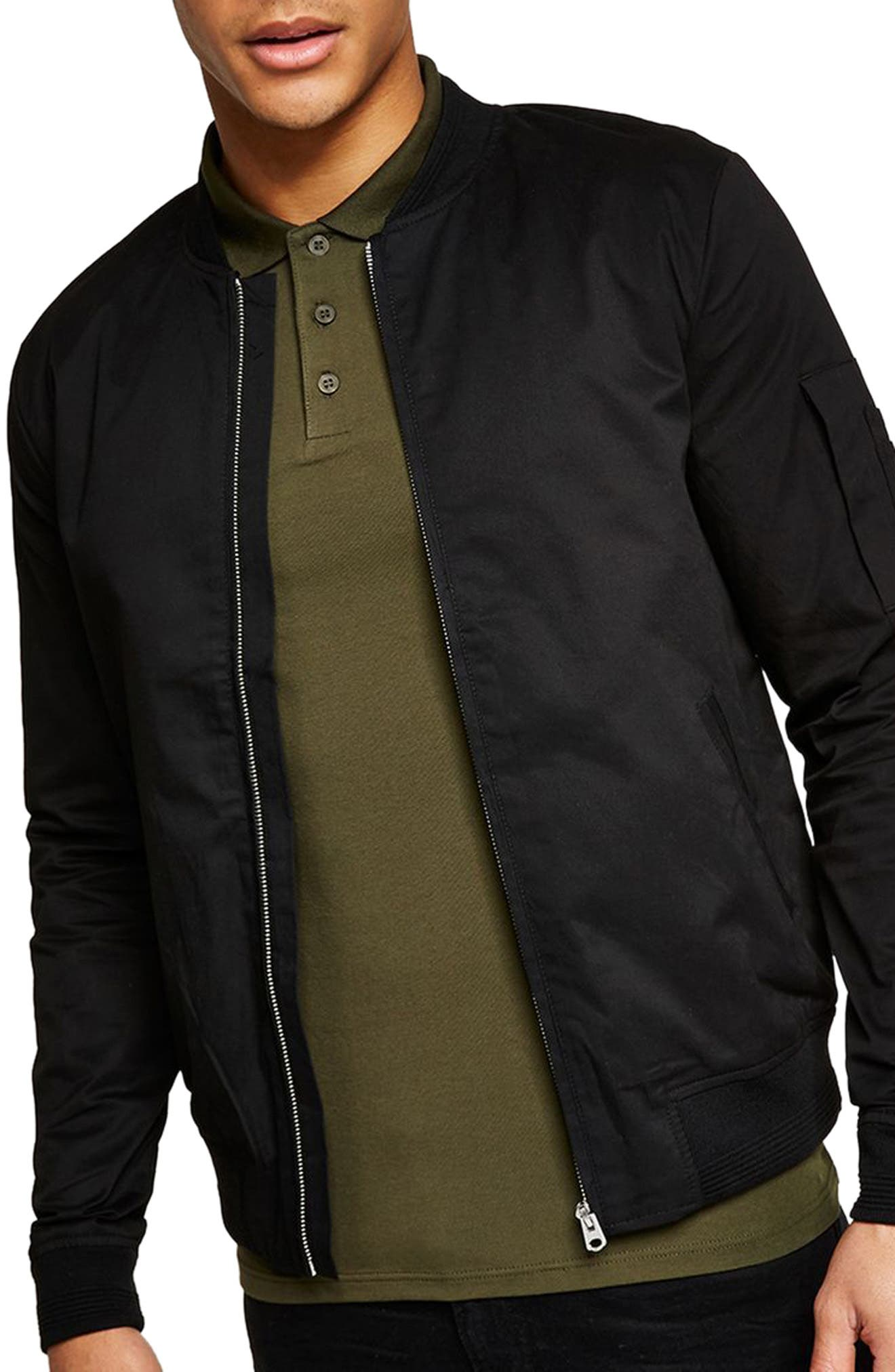 Muscle Fit Bomber Jacket,                             Main thumbnail 1, color,                             001