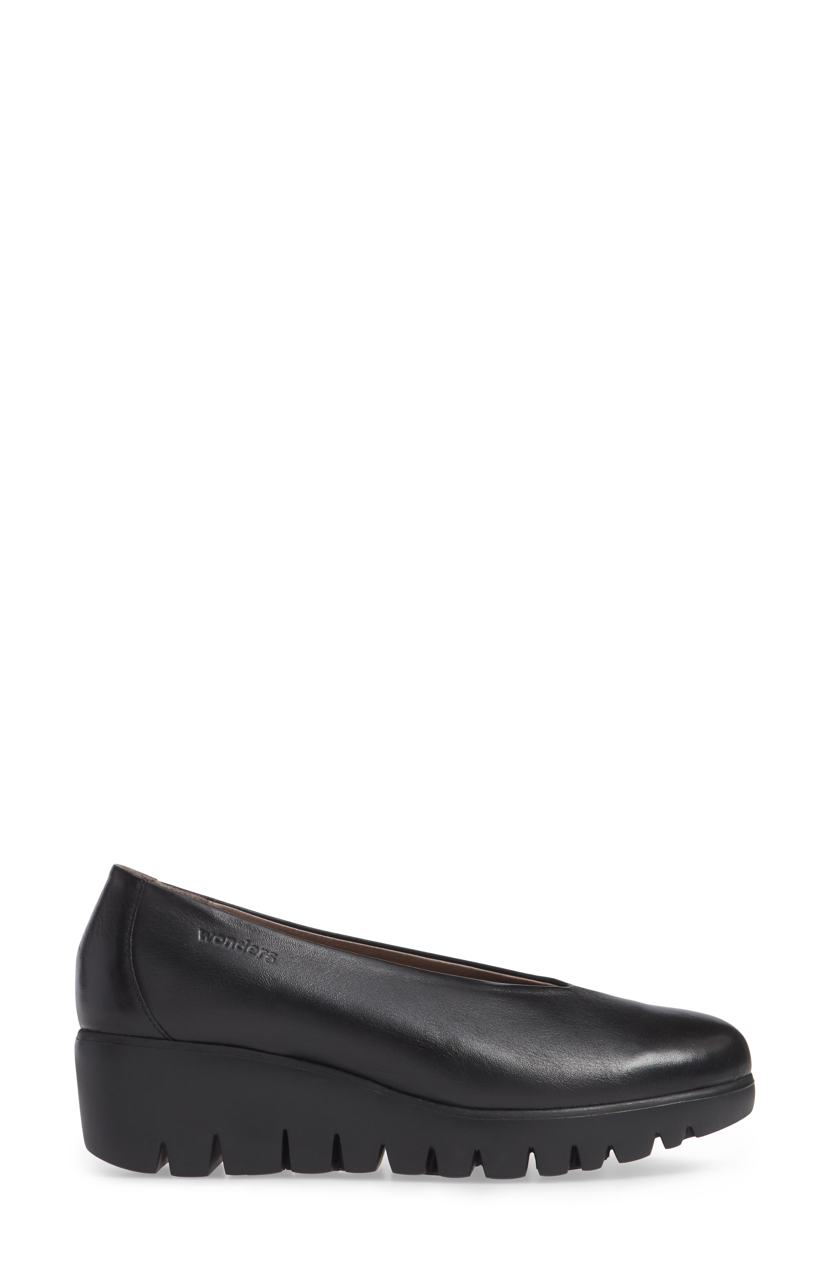 Extralite Wedge Pump,                             Alternate thumbnail 3, color,                             BLACK LEATHER