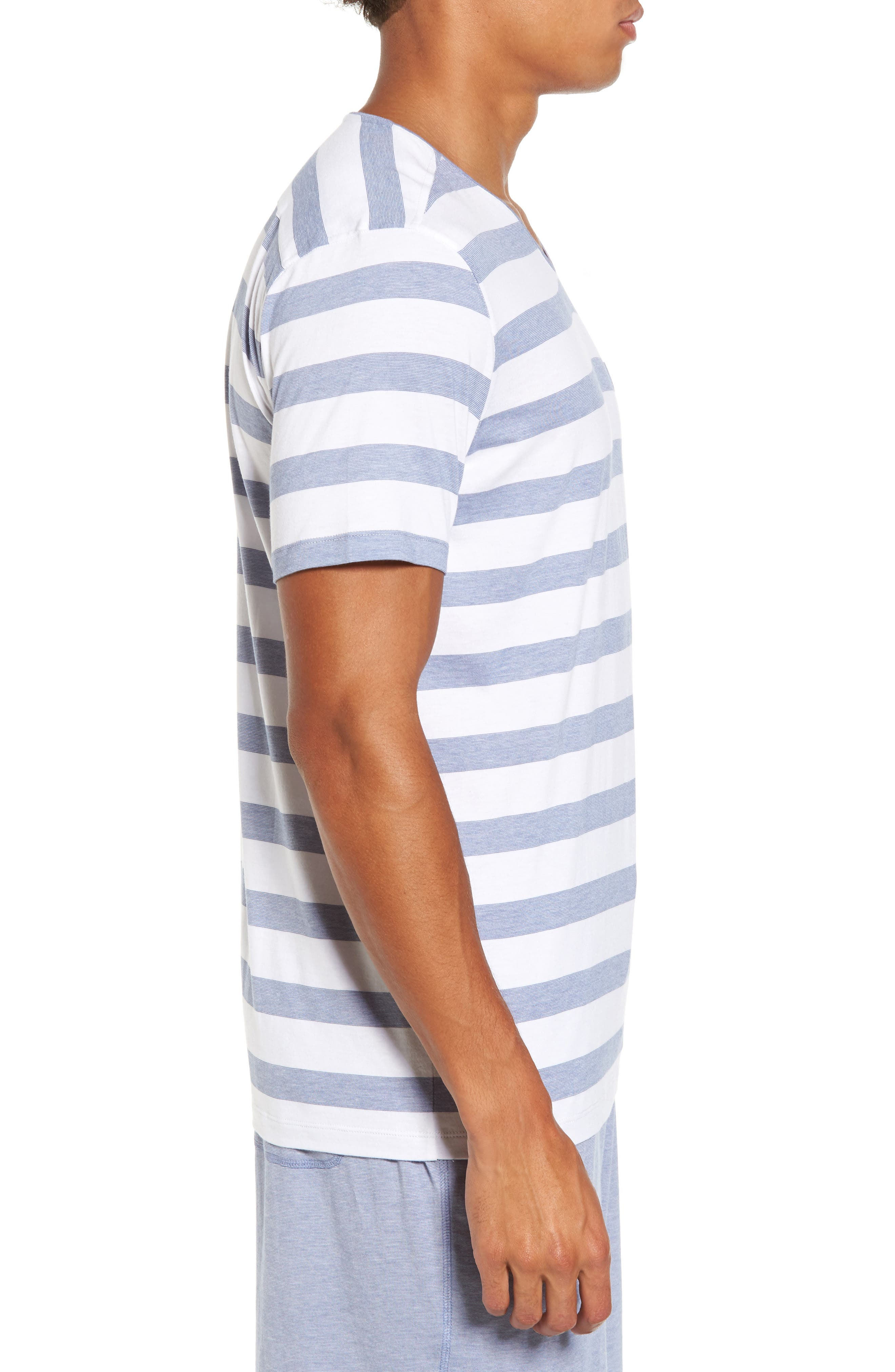 Stripe V-Neck Pima Cotton & Modal T-Shirt,                             Alternate thumbnail 3, color,                             001