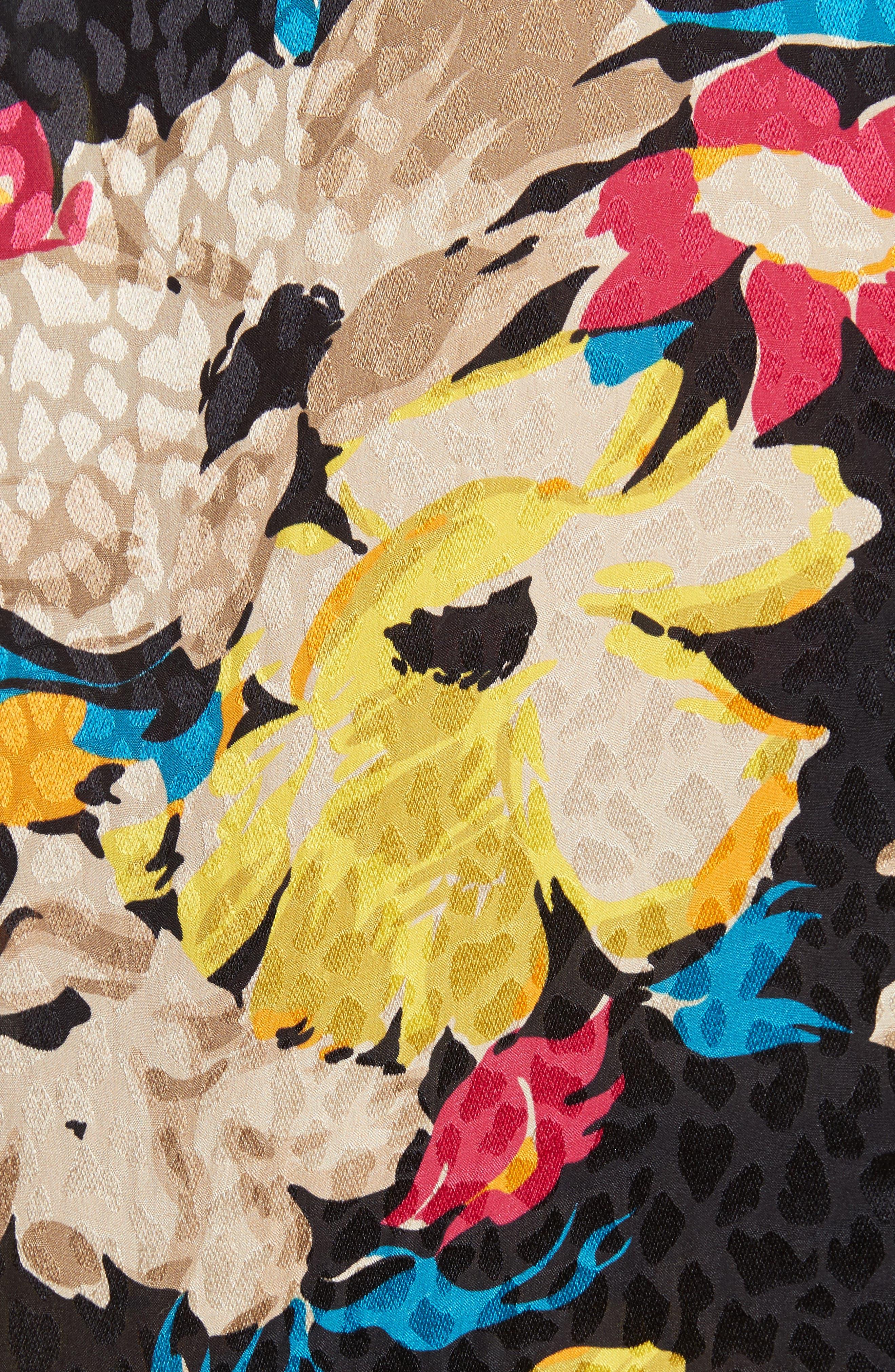 Print Silk Jacquard Blouse,                             Alternate thumbnail 5, color,                             001
