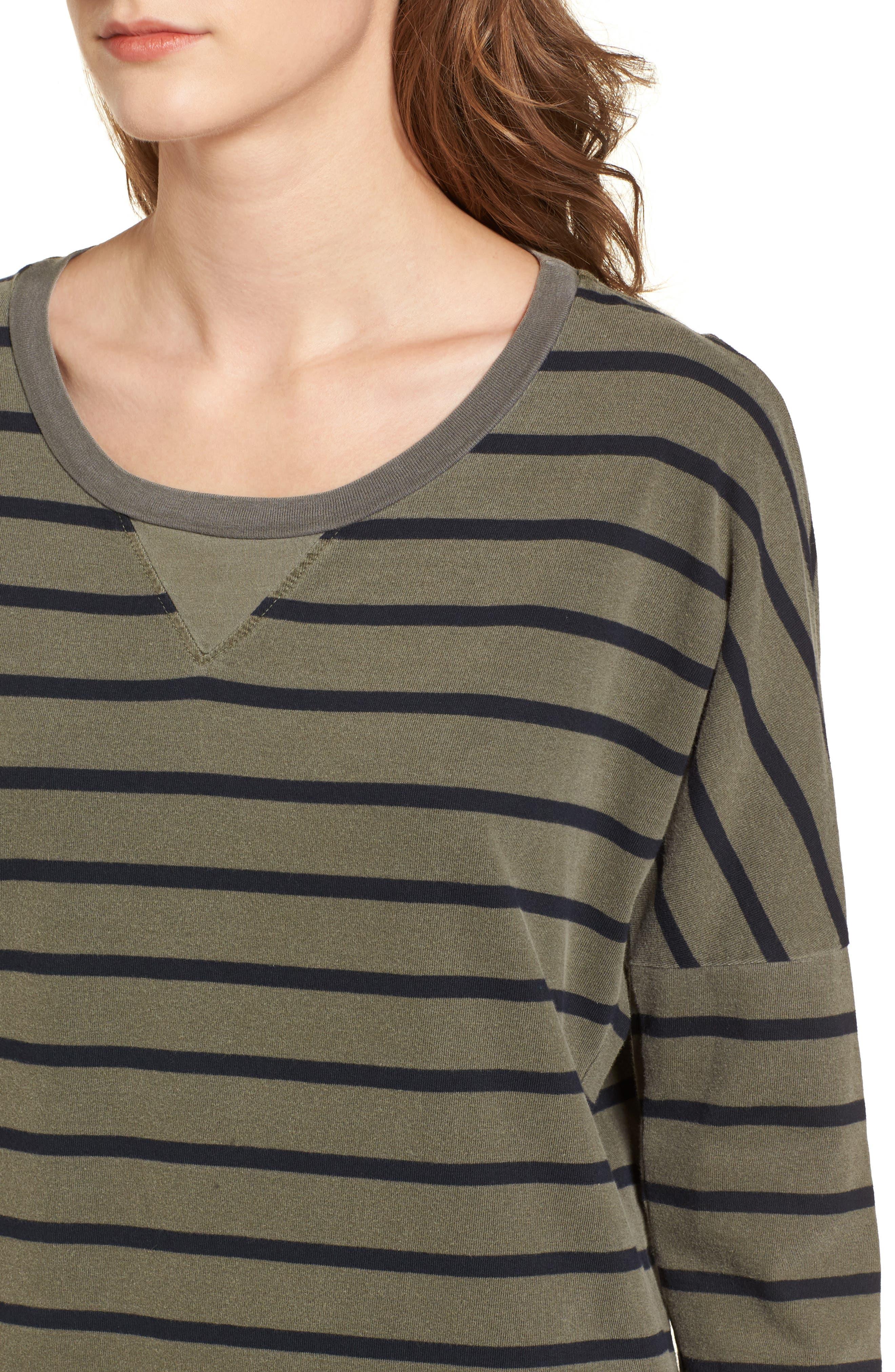 Stripe T-Shirt Dress,                             Alternate thumbnail 4, color,                             300