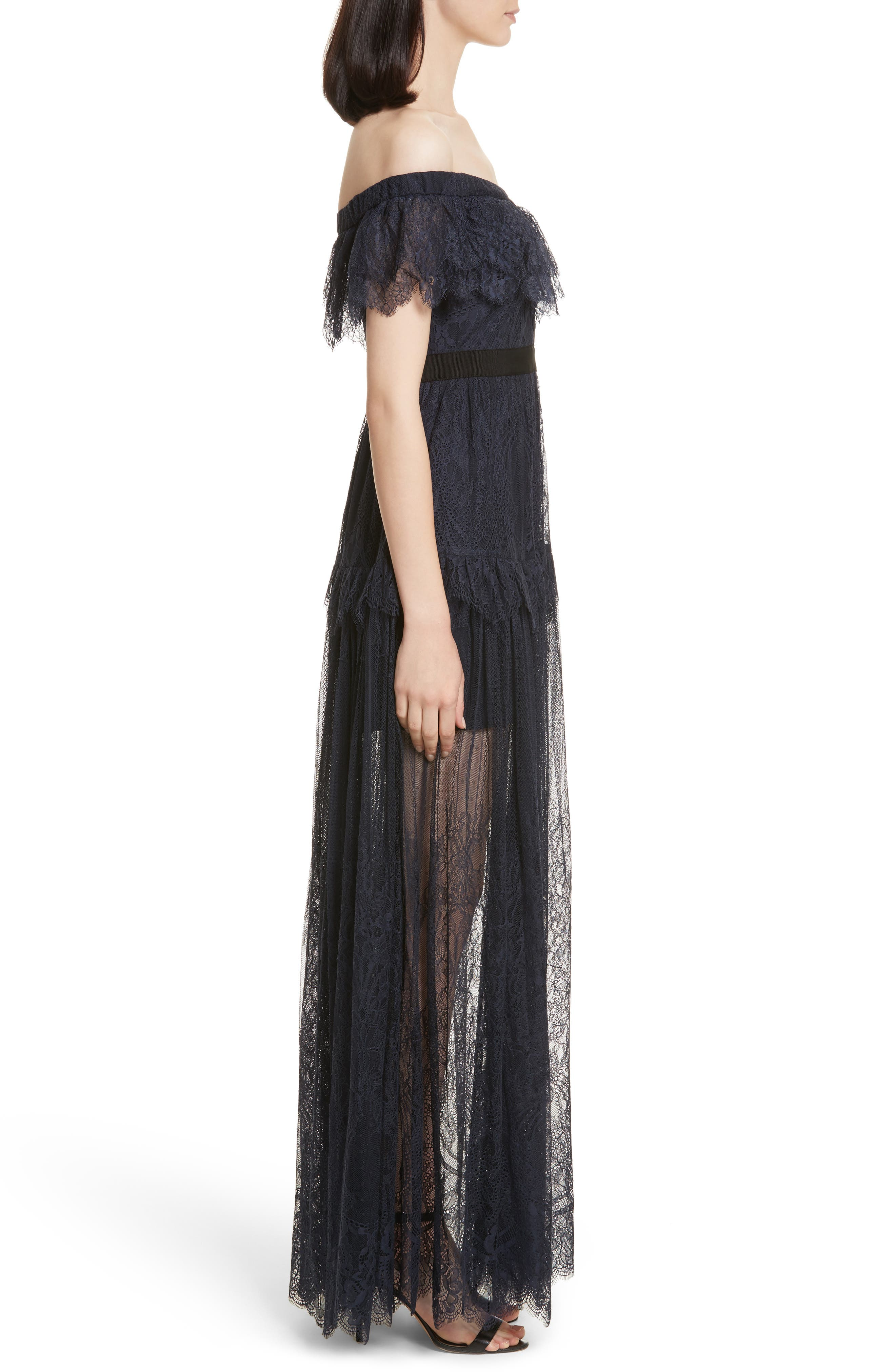 Fine Lace Off the Shoulder Maxi Dress,                             Alternate thumbnail 3, color,                             410