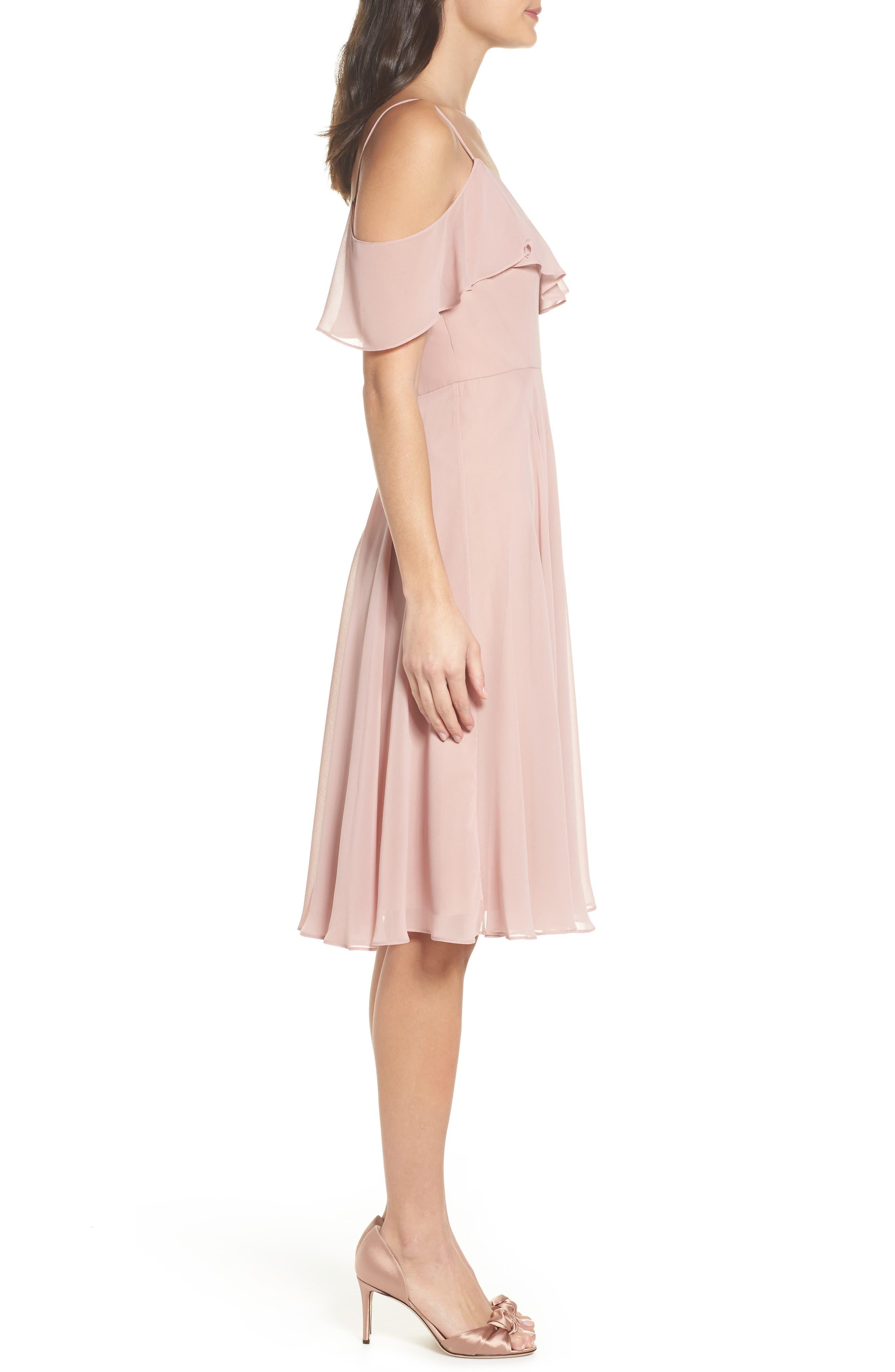 Kelli Cold Shoulder Chiffon Dress,                             Alternate thumbnail 3, color,                             664