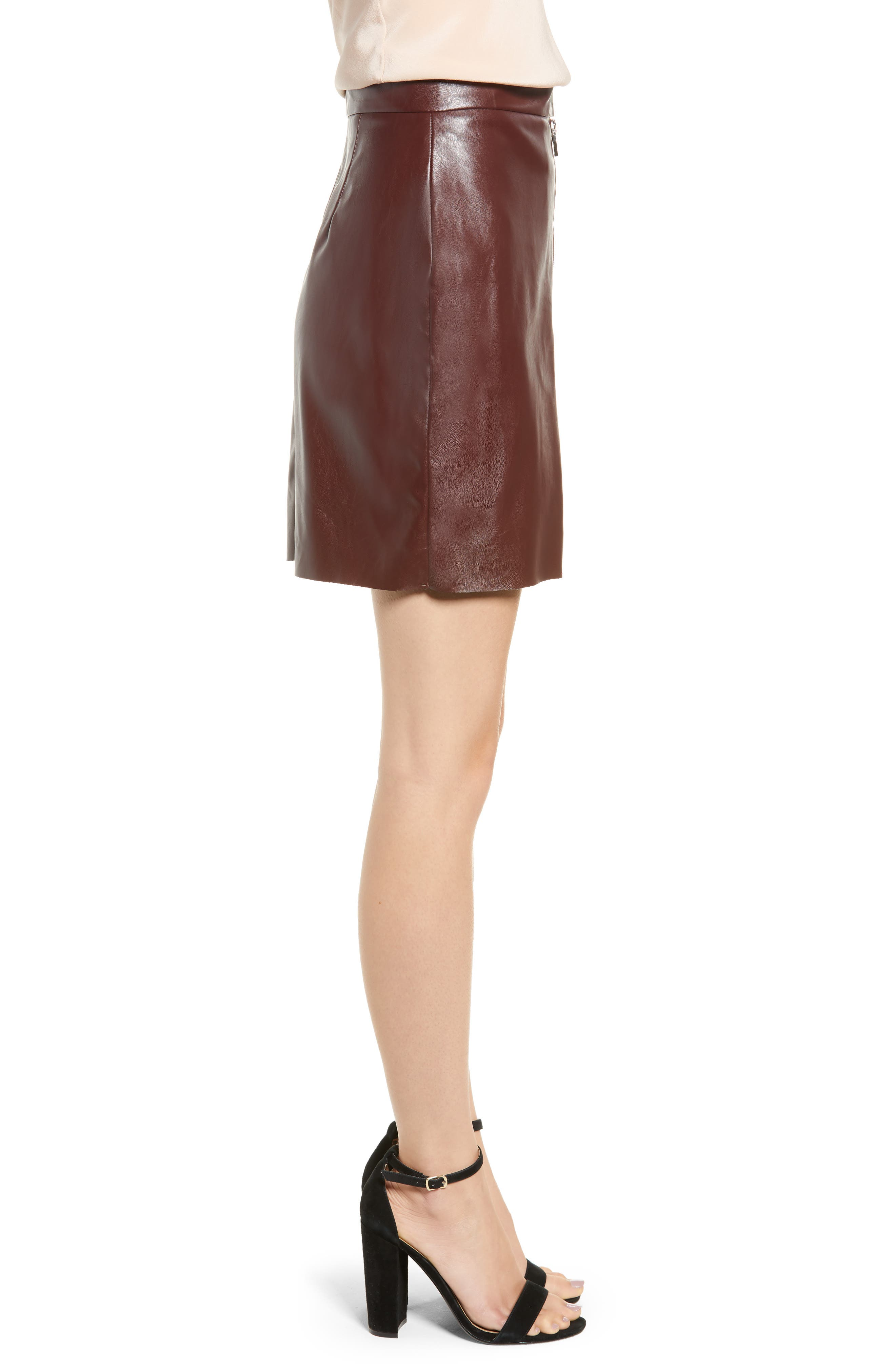 Bishop + Young Exposed Zip Miniskirt,                             Alternate thumbnail 3, color,                             BURGUNDY