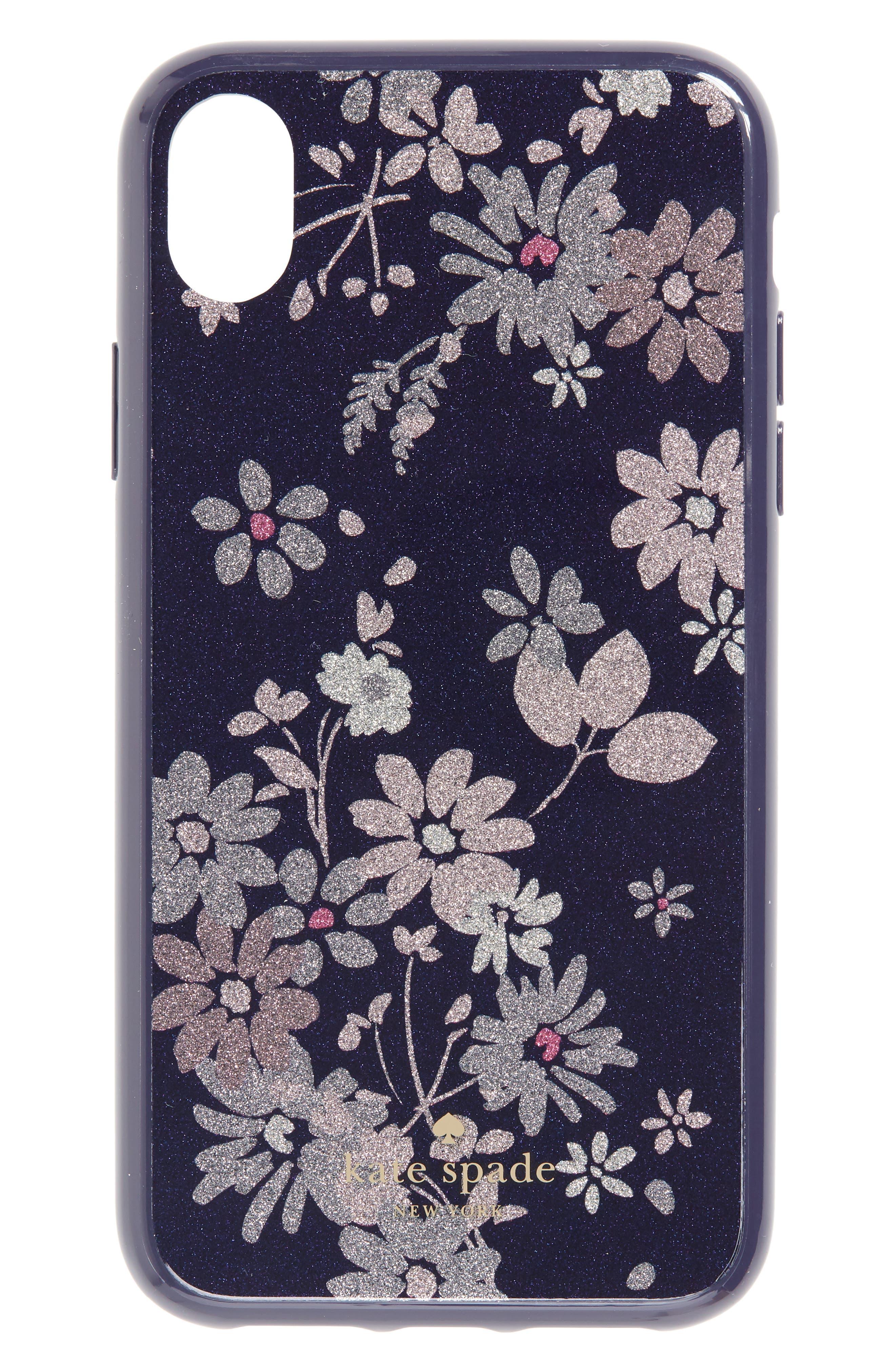 glitter petite posy iPhone X/Xs, Xs Max & XR Case,                             Main thumbnail 1, color,                             BLUE MULTI
