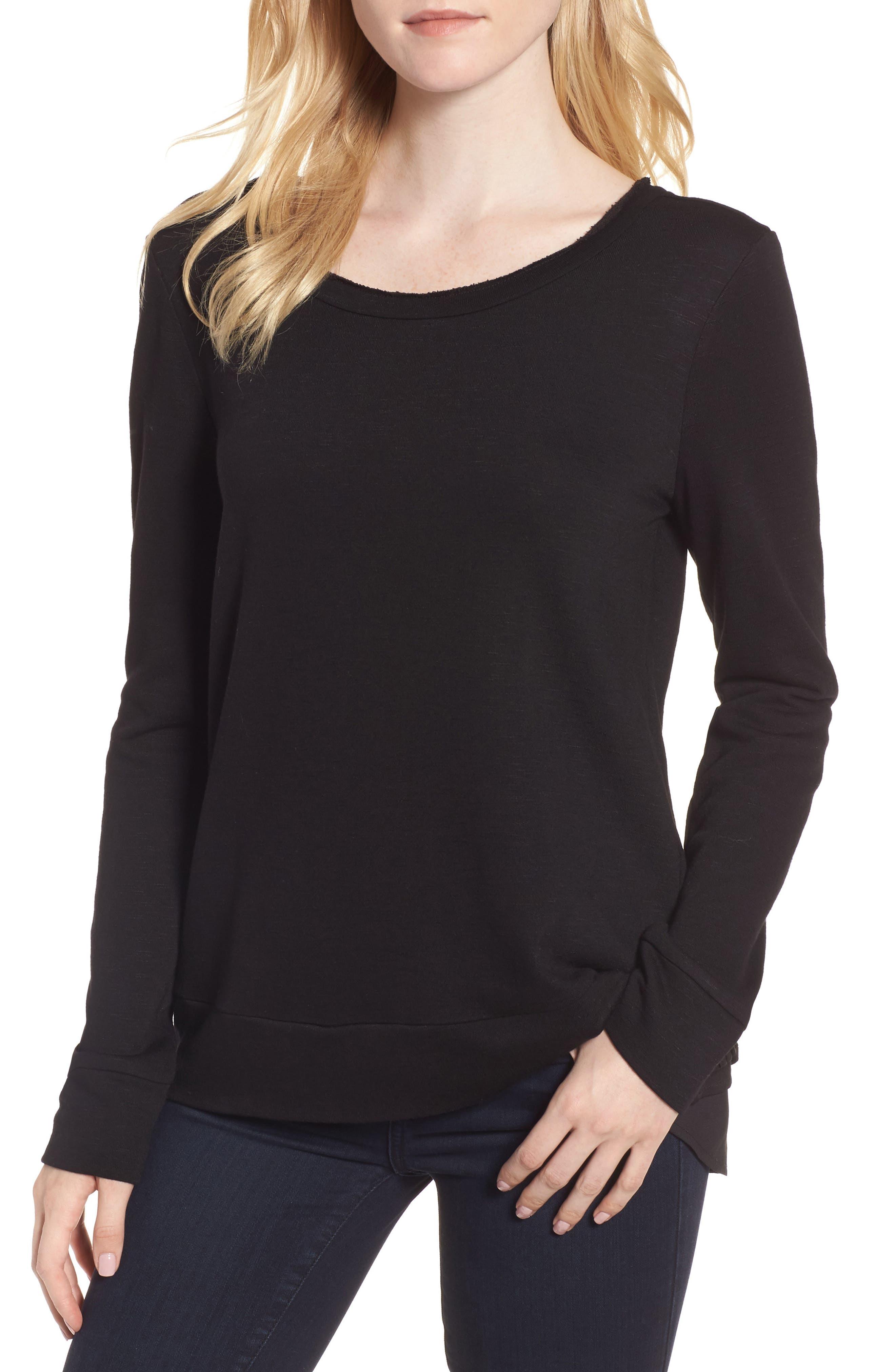 Ruffle Back Sweatshirt,                         Main,                         color, 001