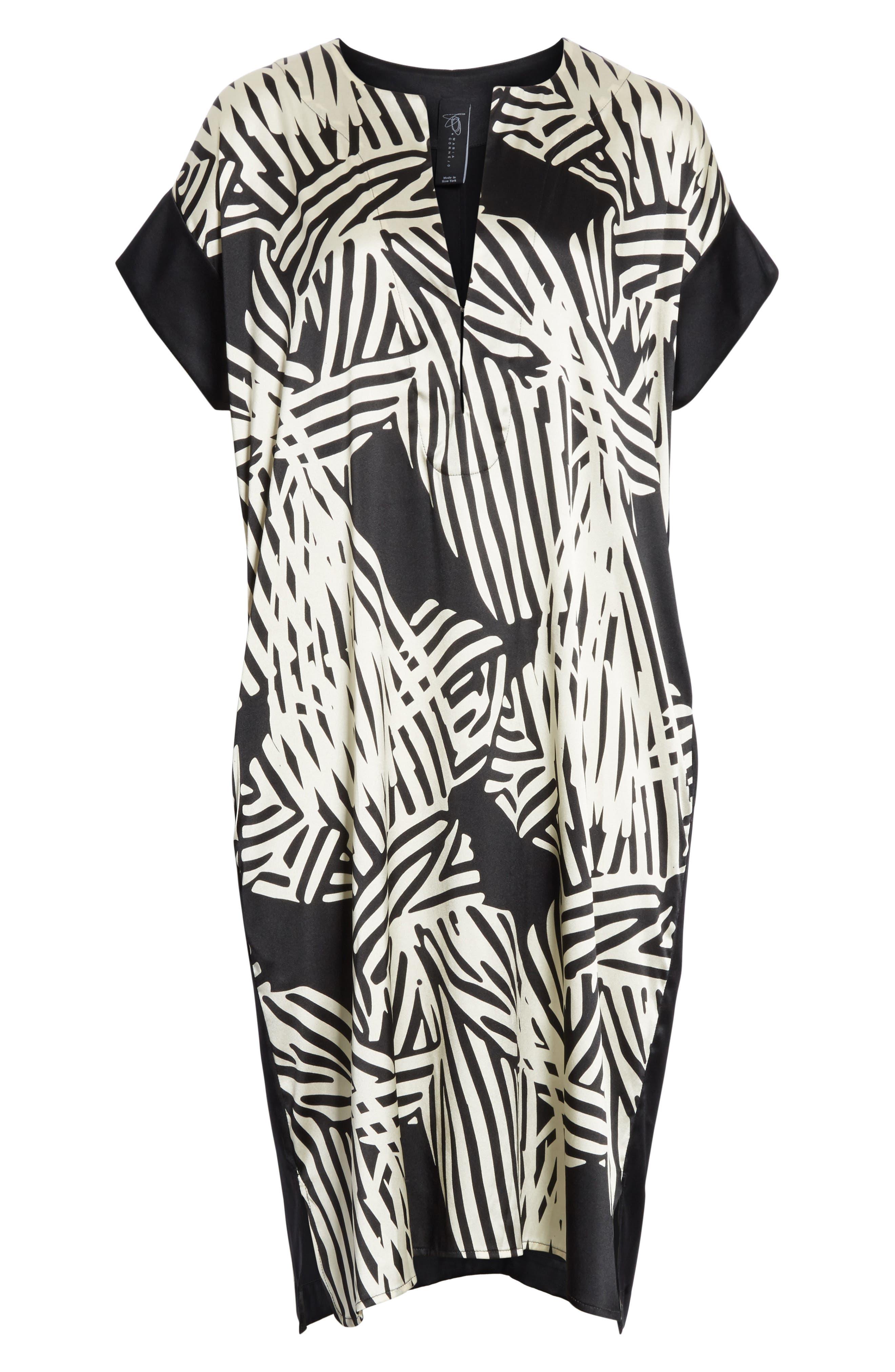 Bow Print Silk Blend Dress,                             Alternate thumbnail 6, color,                             001