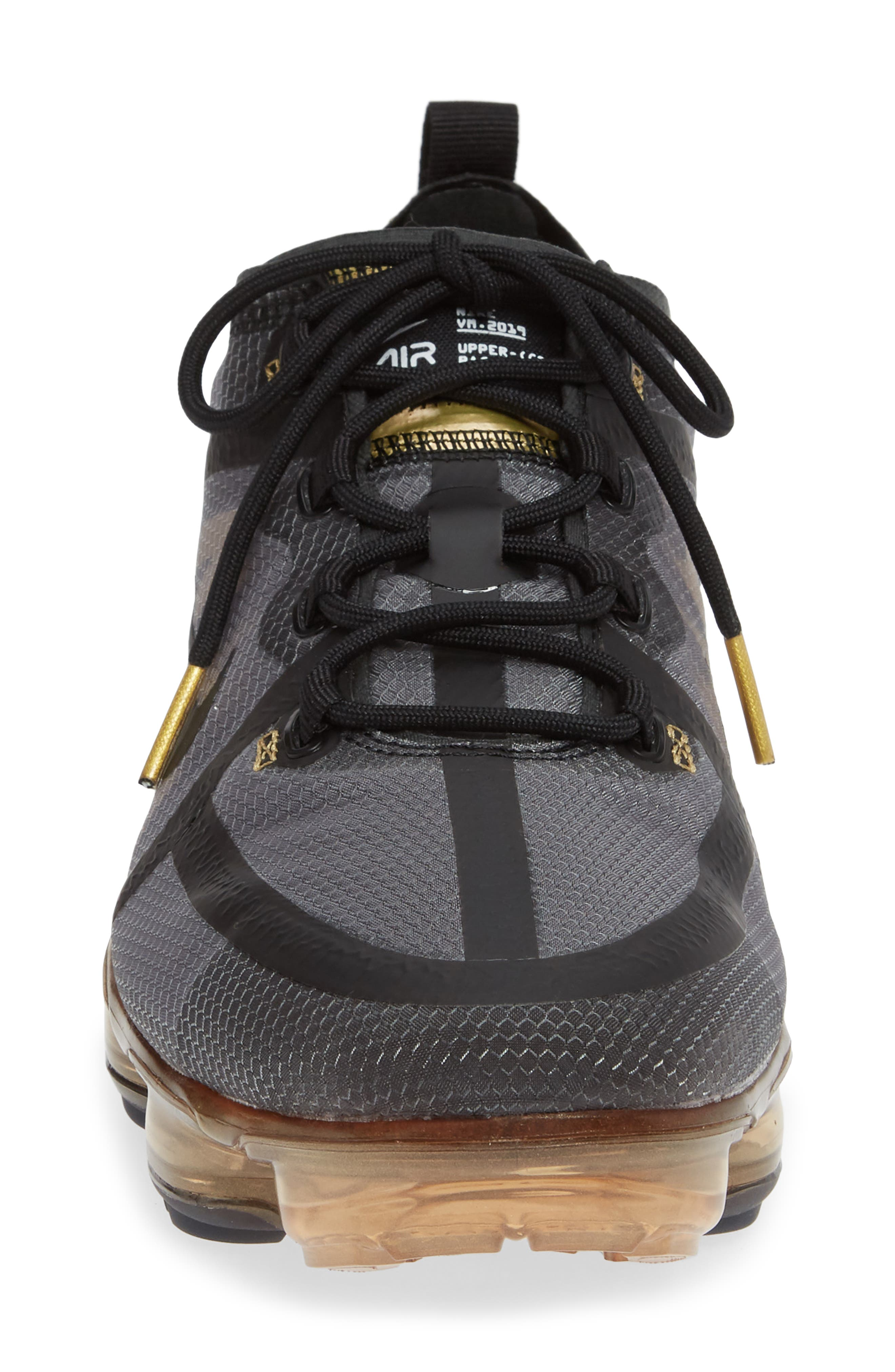 NIKE,                             Air VaporMax 2019 Running Shoe,                             Alternate thumbnail 4, color,                             BLACK/ METALLIC GOLD