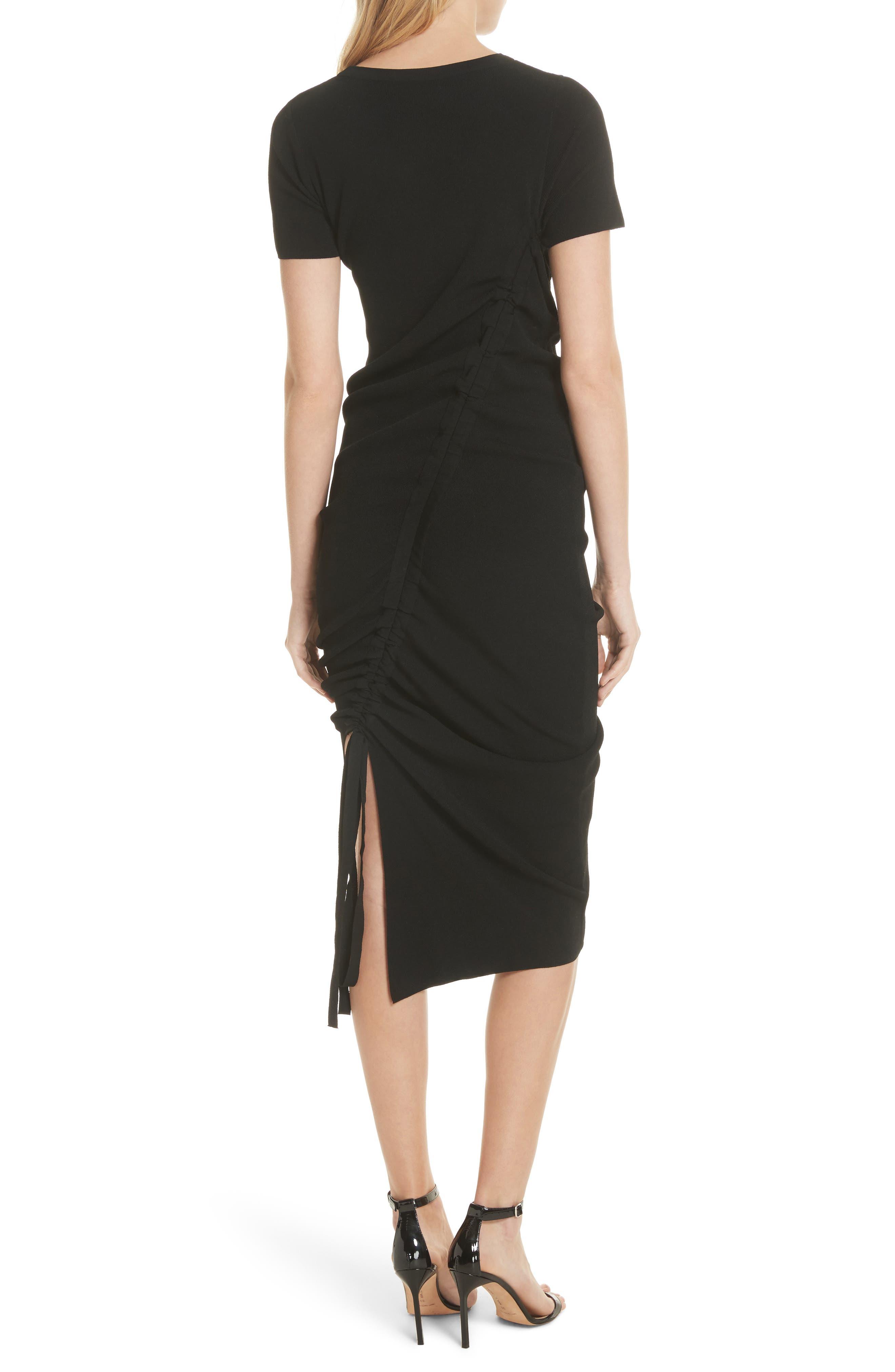 Ruched Midi Dress,                             Alternate thumbnail 2, color,                             001