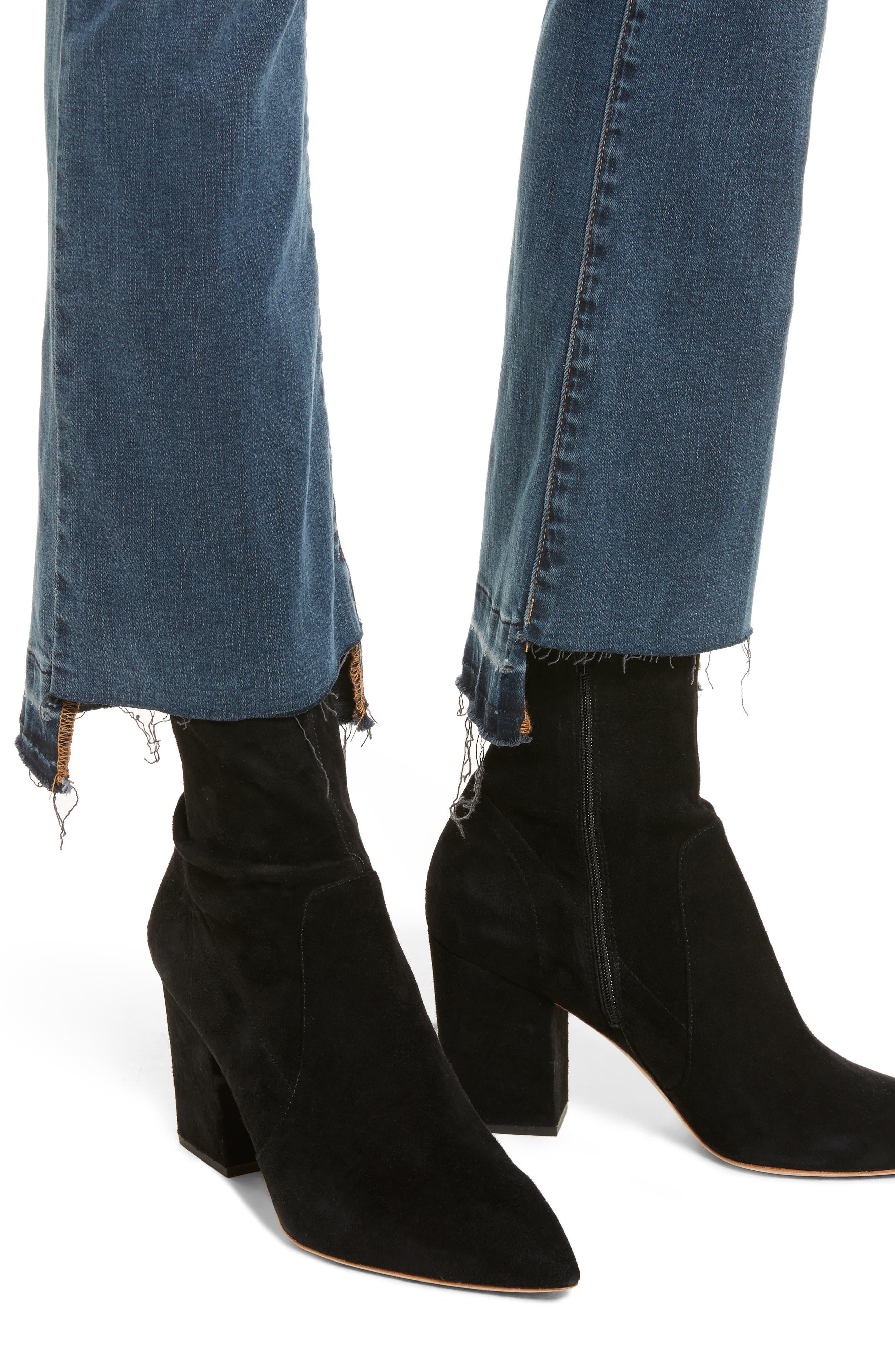Le Crop Mini Boot Stagger Hem Jeans,                             Alternate thumbnail 4, color,                             420