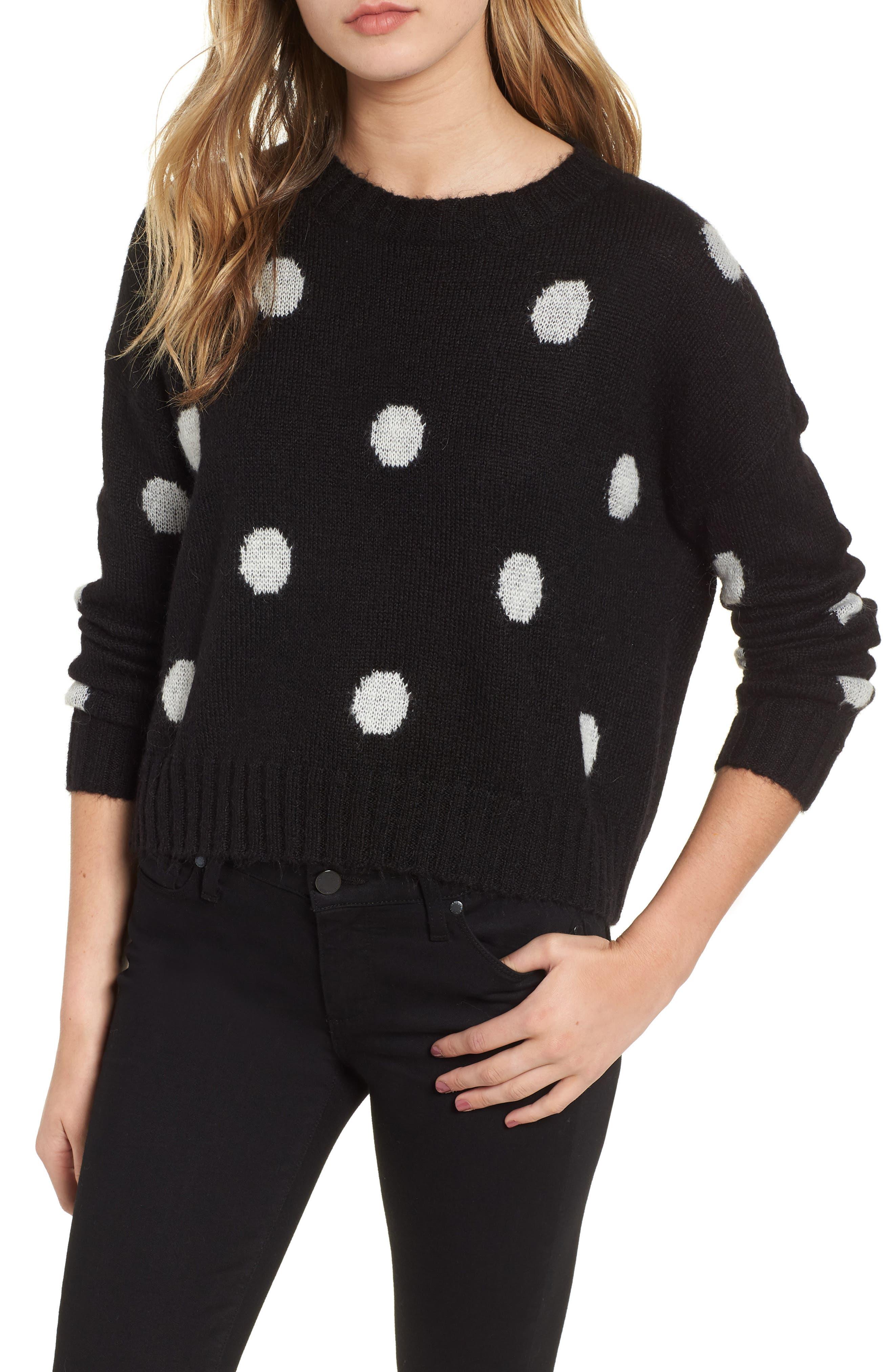 Perci Sweater,                         Main,                         color, BLACK/ IVORY POLKA DOT