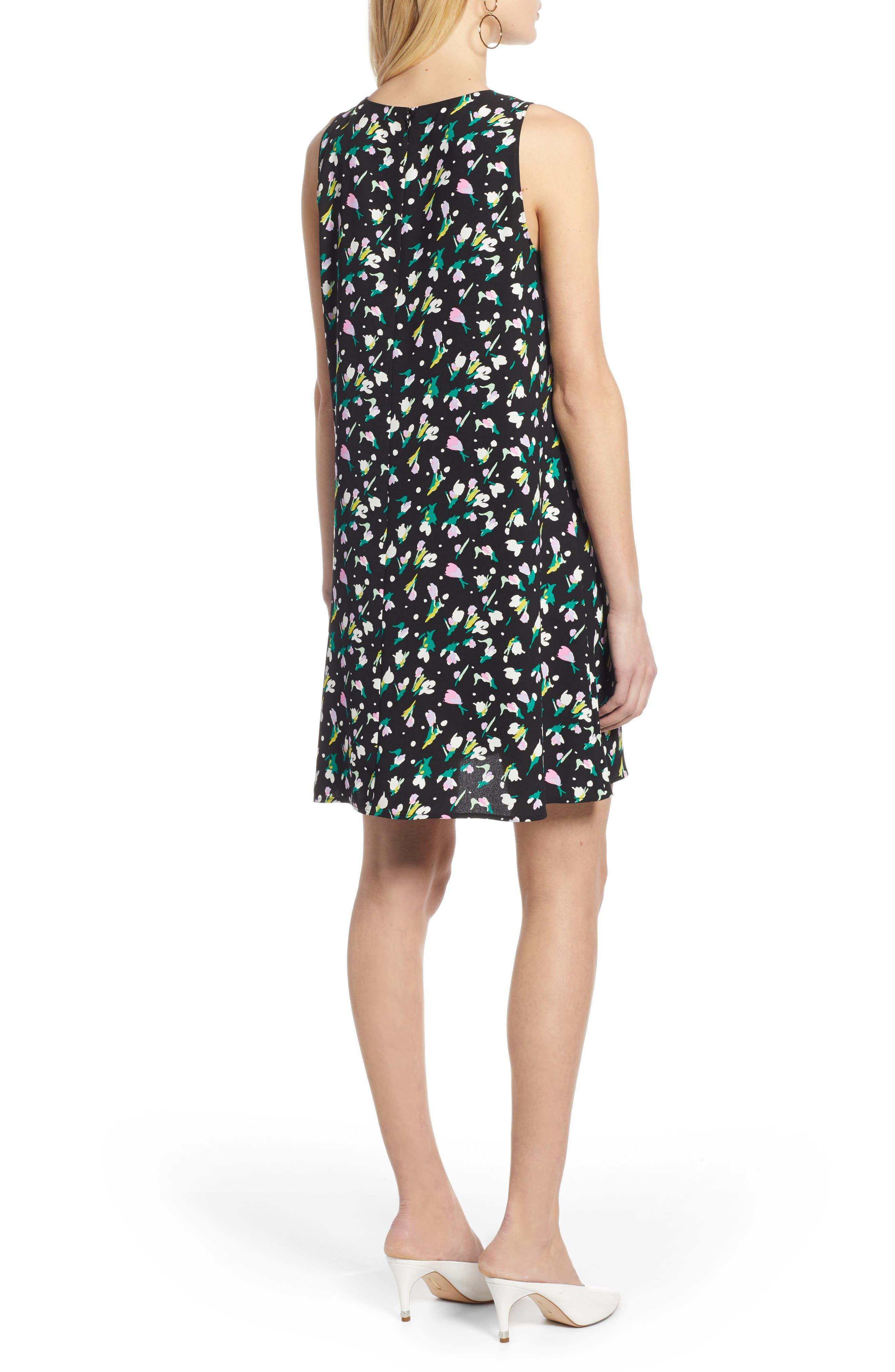 HALOGEN<SUP>®</SUP>,                             A-Line Dress,                             Alternate thumbnail 2, color,                             BLACK TINY TULIP PRINT
