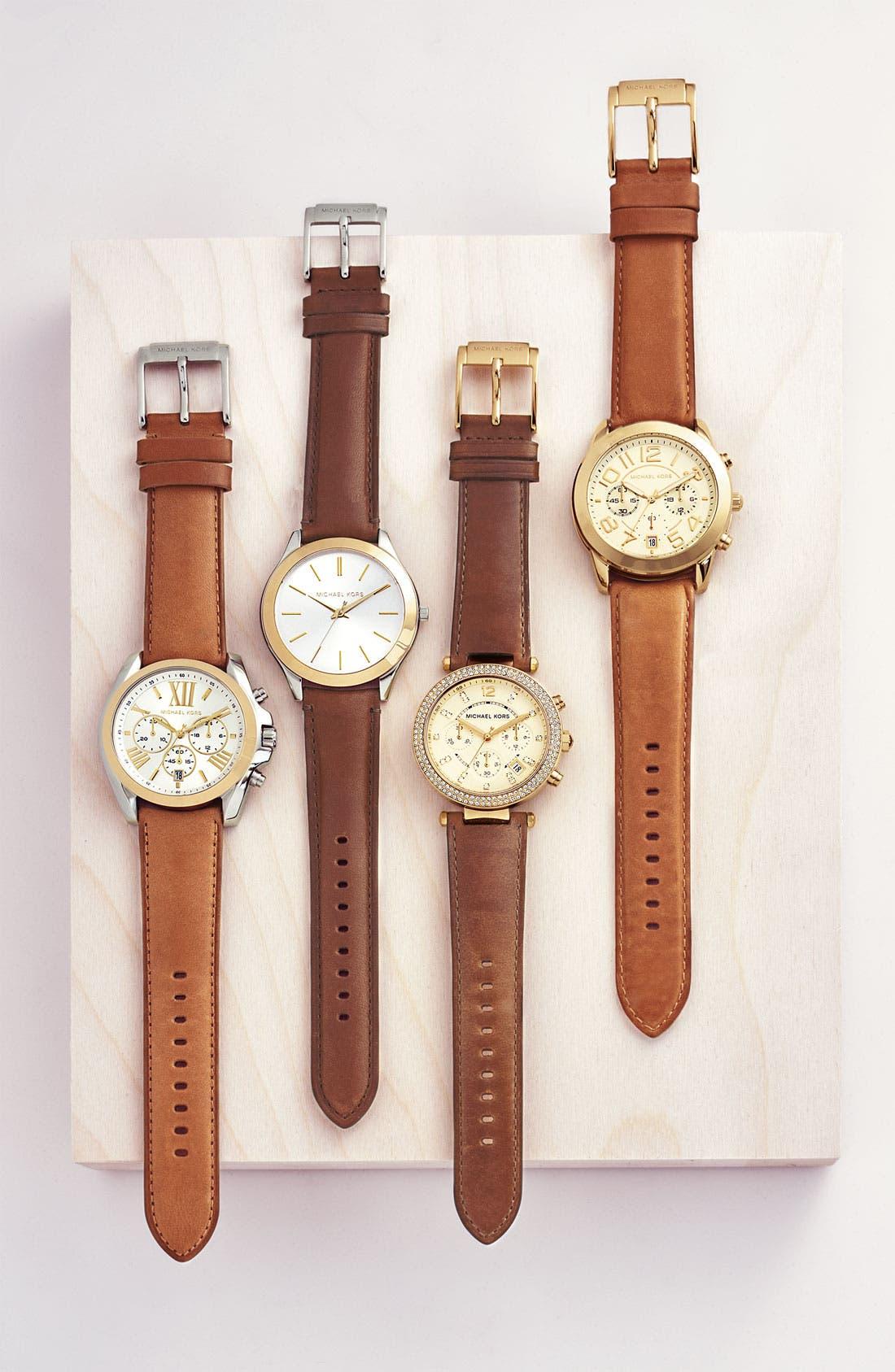 Michael Kors 'Slim Runway' Leather Strap Watch, 42mm,                             Alternate thumbnail 2, color,                             200
