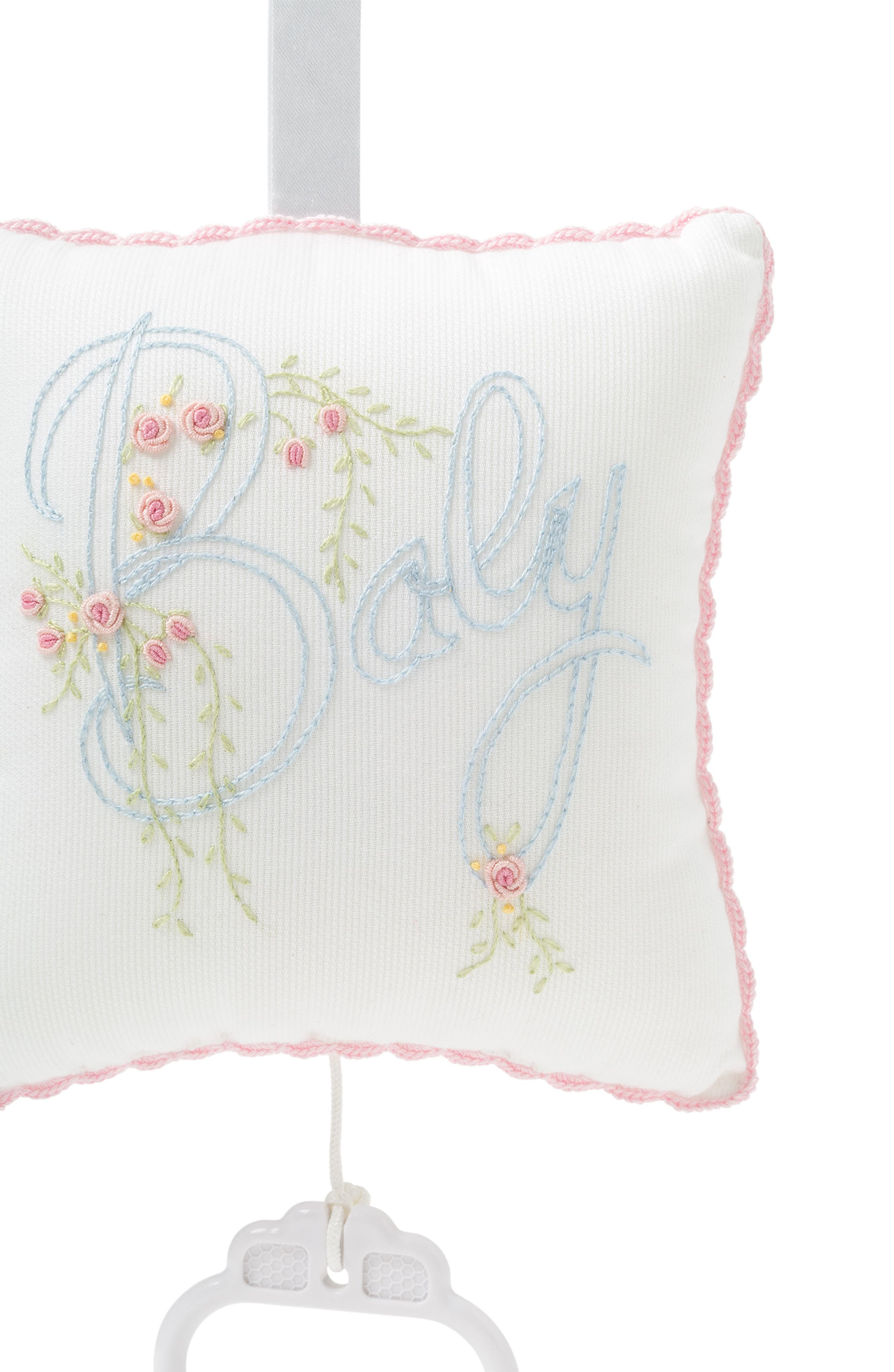 Embroidered Musical Pillow,                             Alternate thumbnail 2, color,                             WHITE