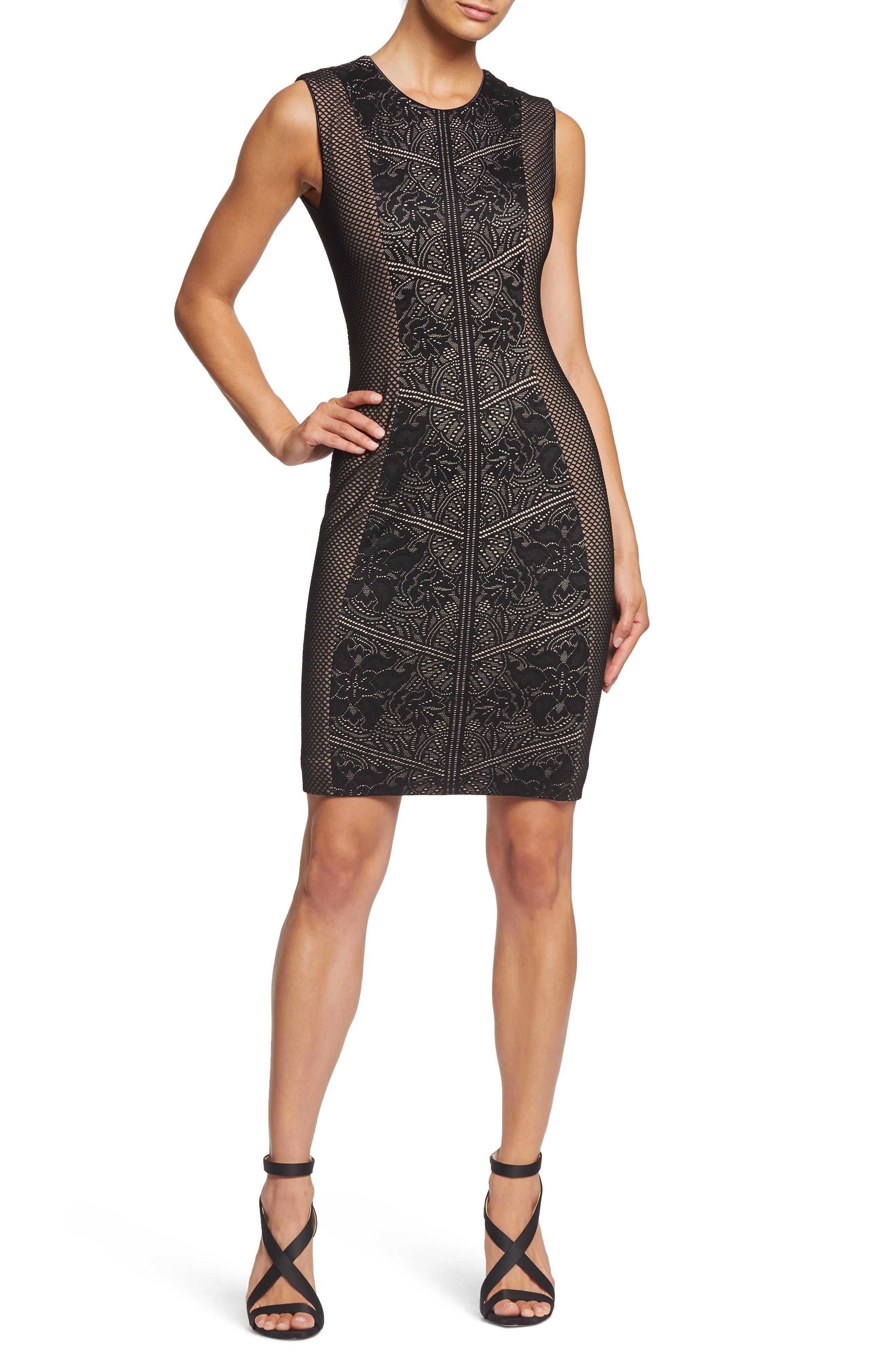 Tori Lace Overlay Body-Con Dress,                             Main thumbnail 1, color,                             BLACK