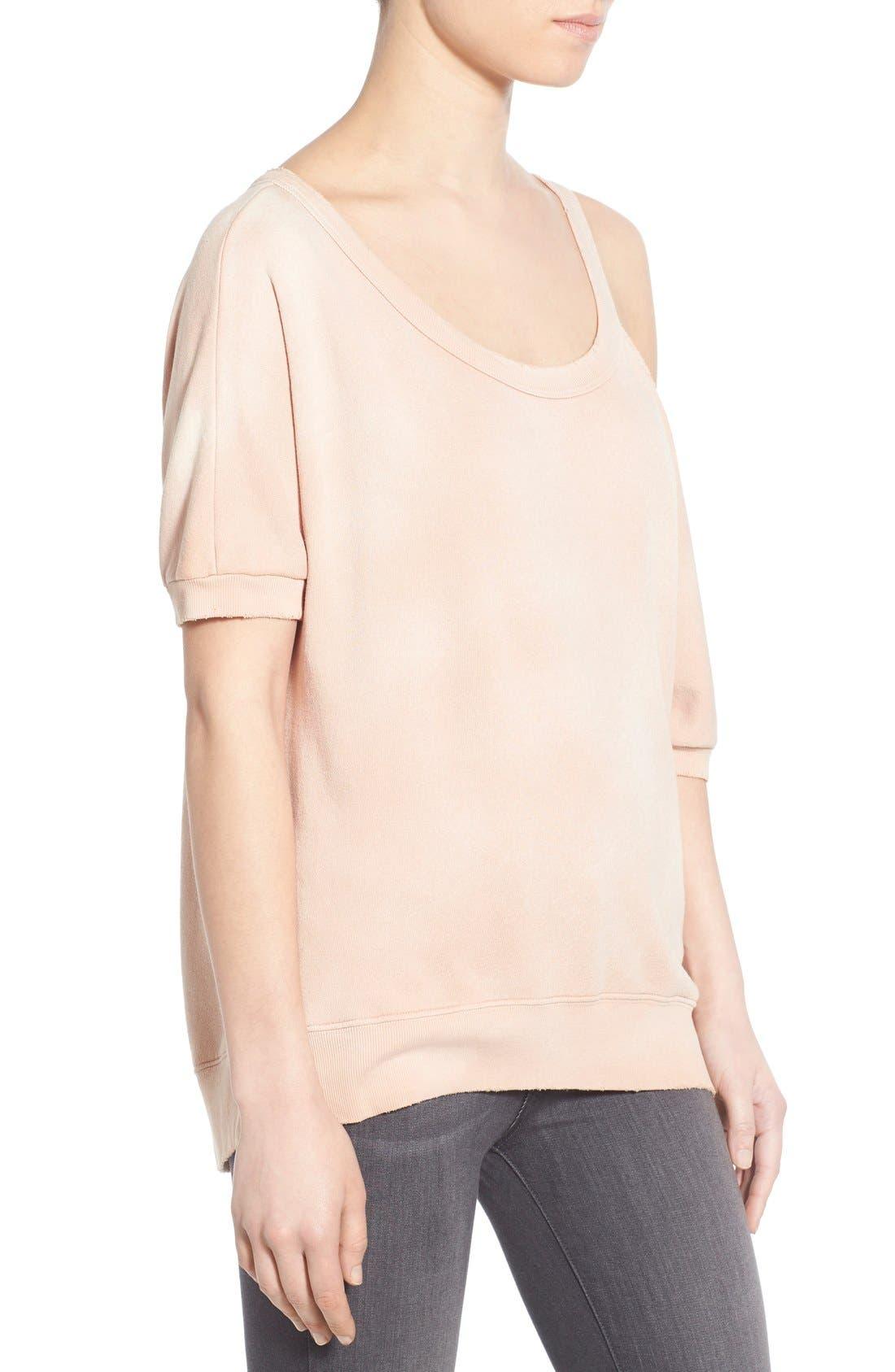 Distressed Open Shoulder Sweatshirt,                             Alternate thumbnail 8, color,