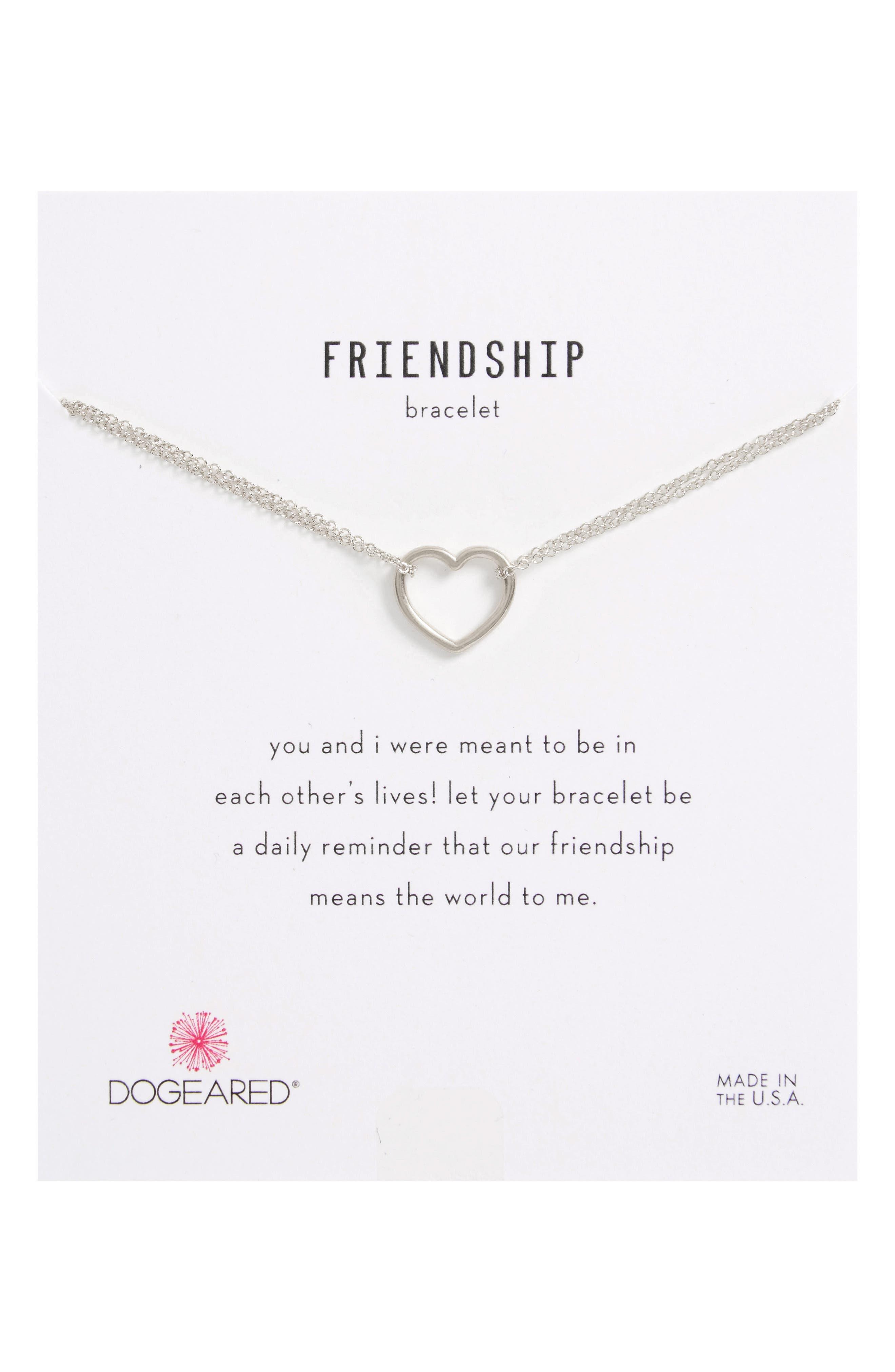 Friendship Medium Open Heart Charm Chain Bracelet,                             Main thumbnail 1, color,                             040