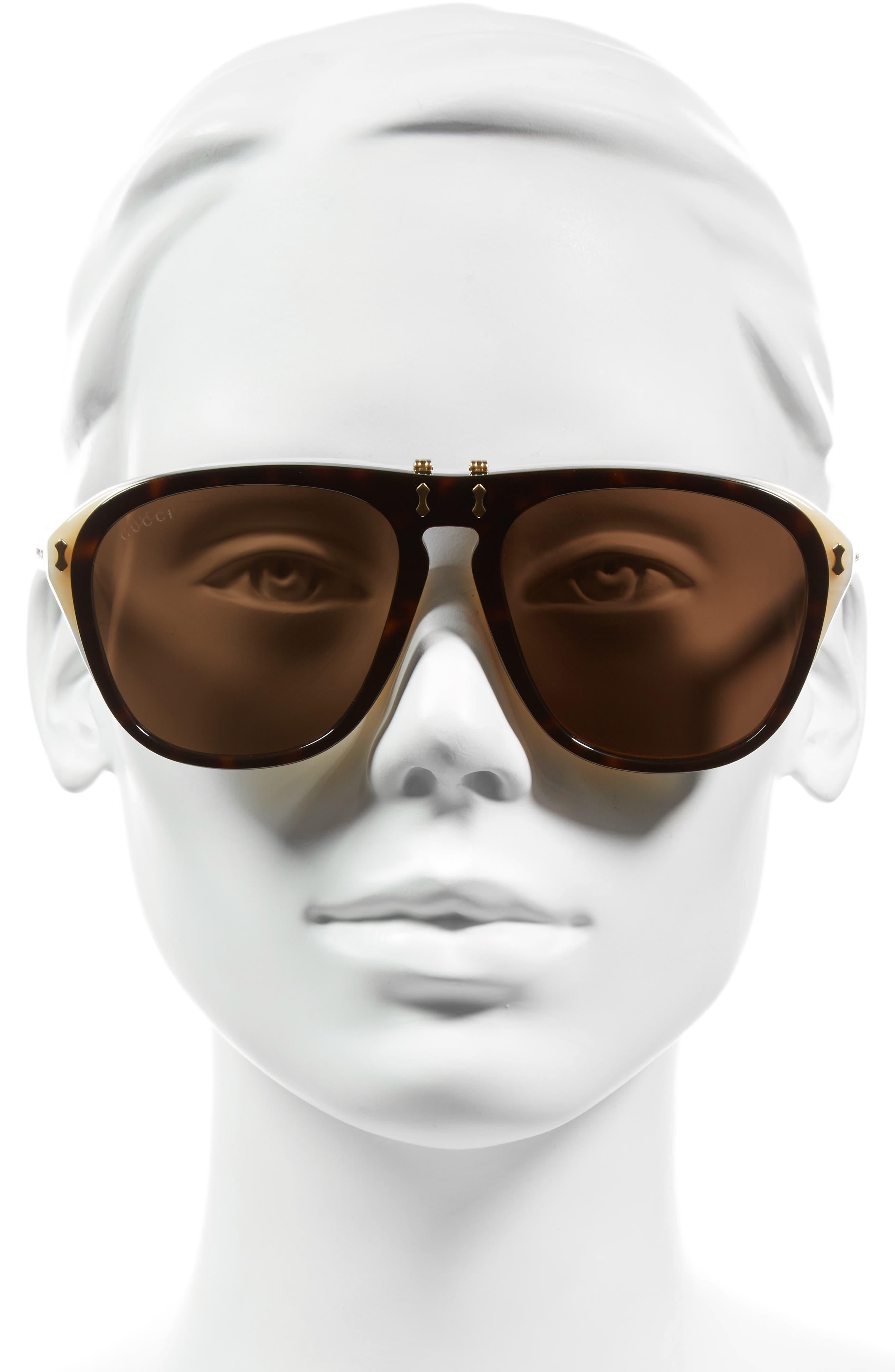 56mm Flip-Up Sunglasses,                             Alternate thumbnail 2, color,                             HAVANA/ BROWN