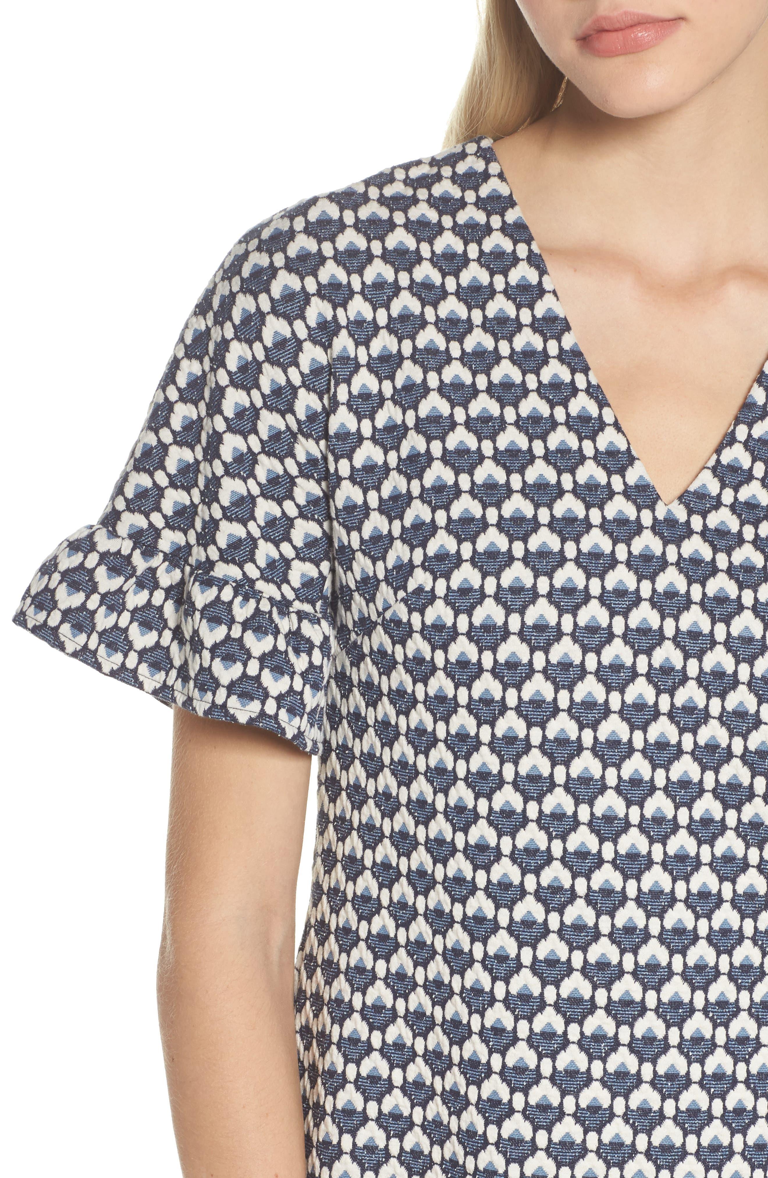 Jacquard Shift Dress,                             Alternate thumbnail 4, color,                             400