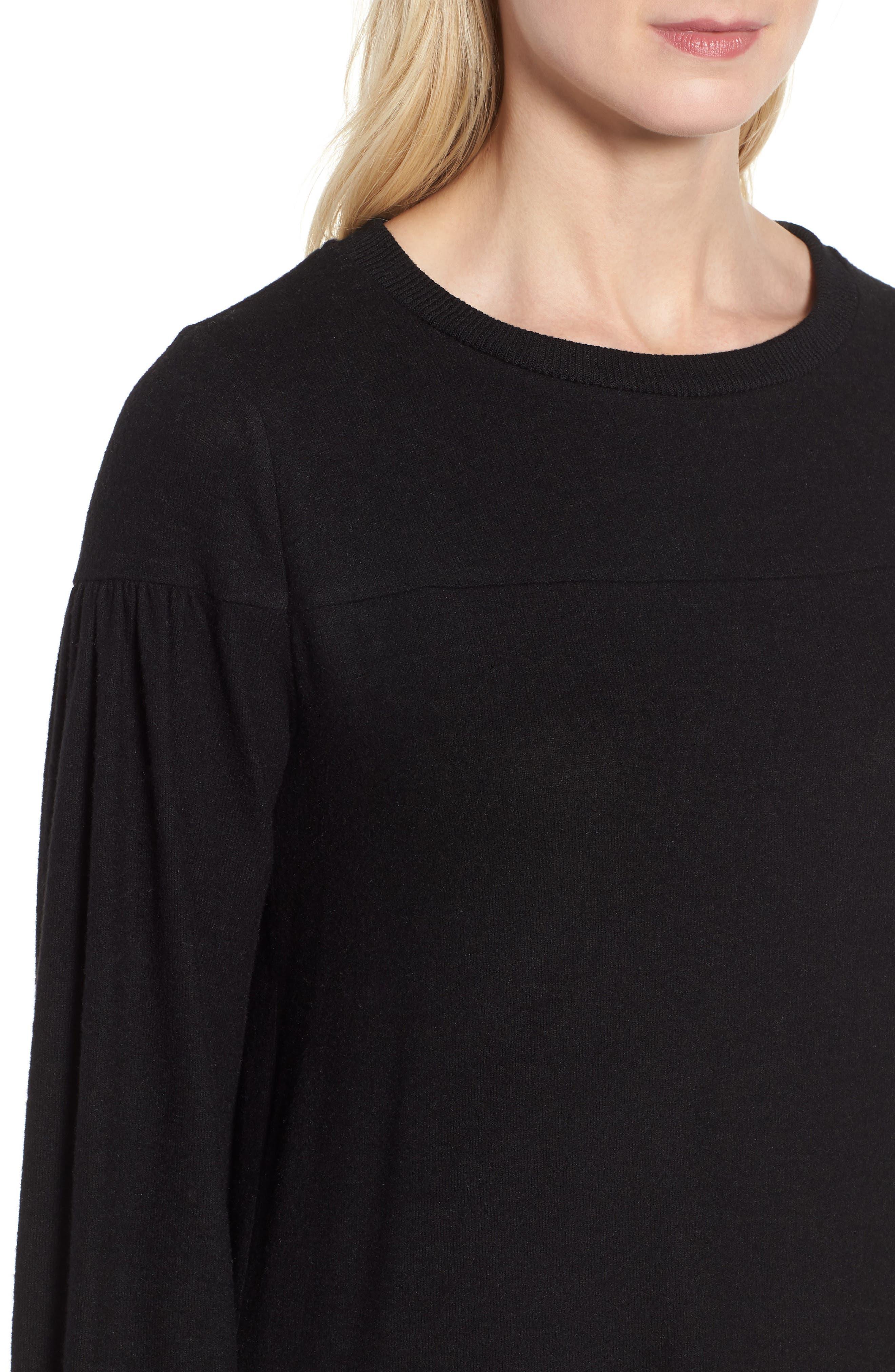 Blouson Sleeve Cozy Fleece Pullover,                             Alternate thumbnail 4, color,                             BLACK