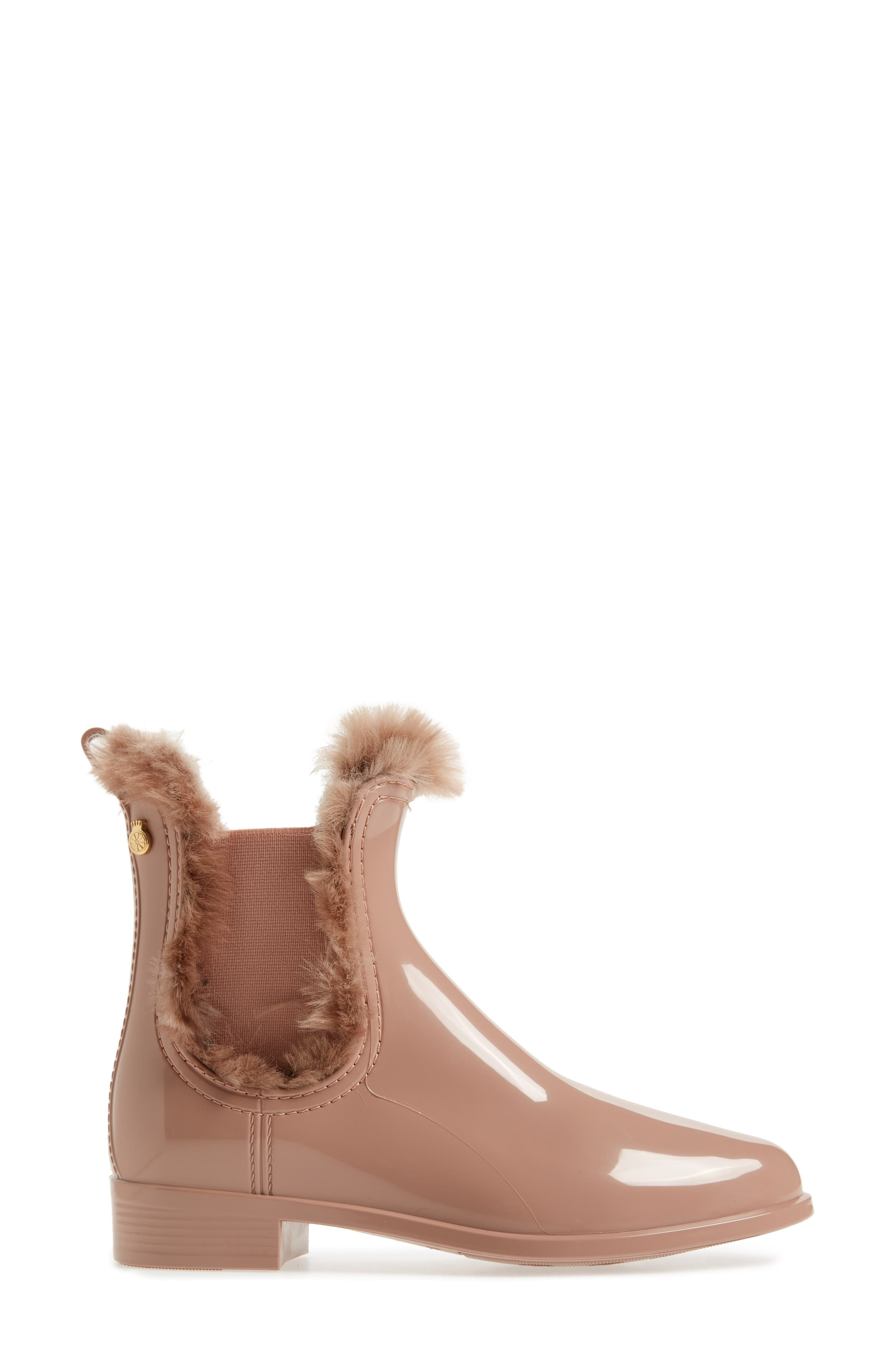Aisha Waterproof Chelsea Boot with Faux Fur Lining,                             Alternate thumbnail 3, color,                             ROSE MATTE