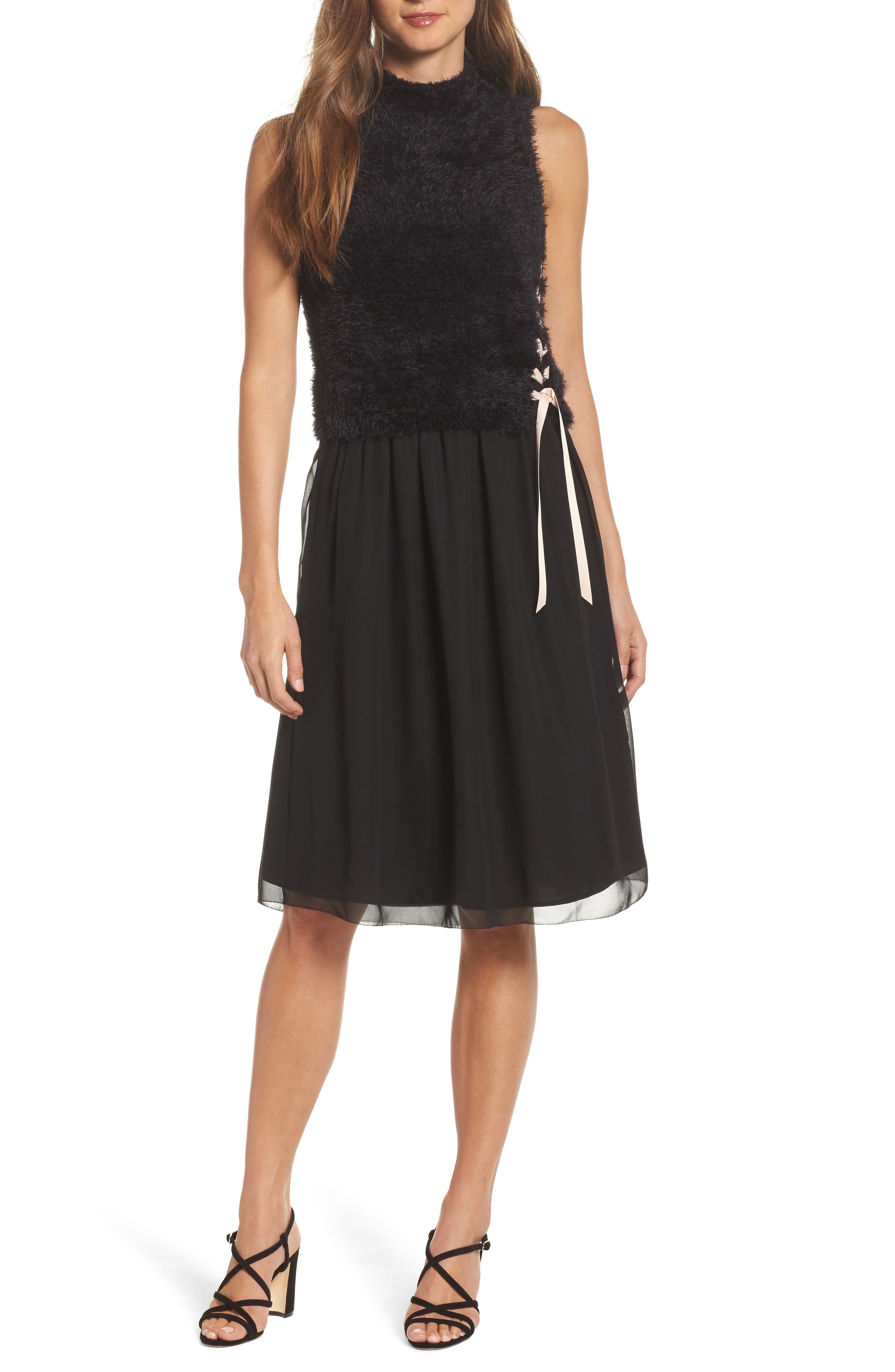 NIC + ZOE Lace-Up Dress,                             Main thumbnail 1, color,                             004