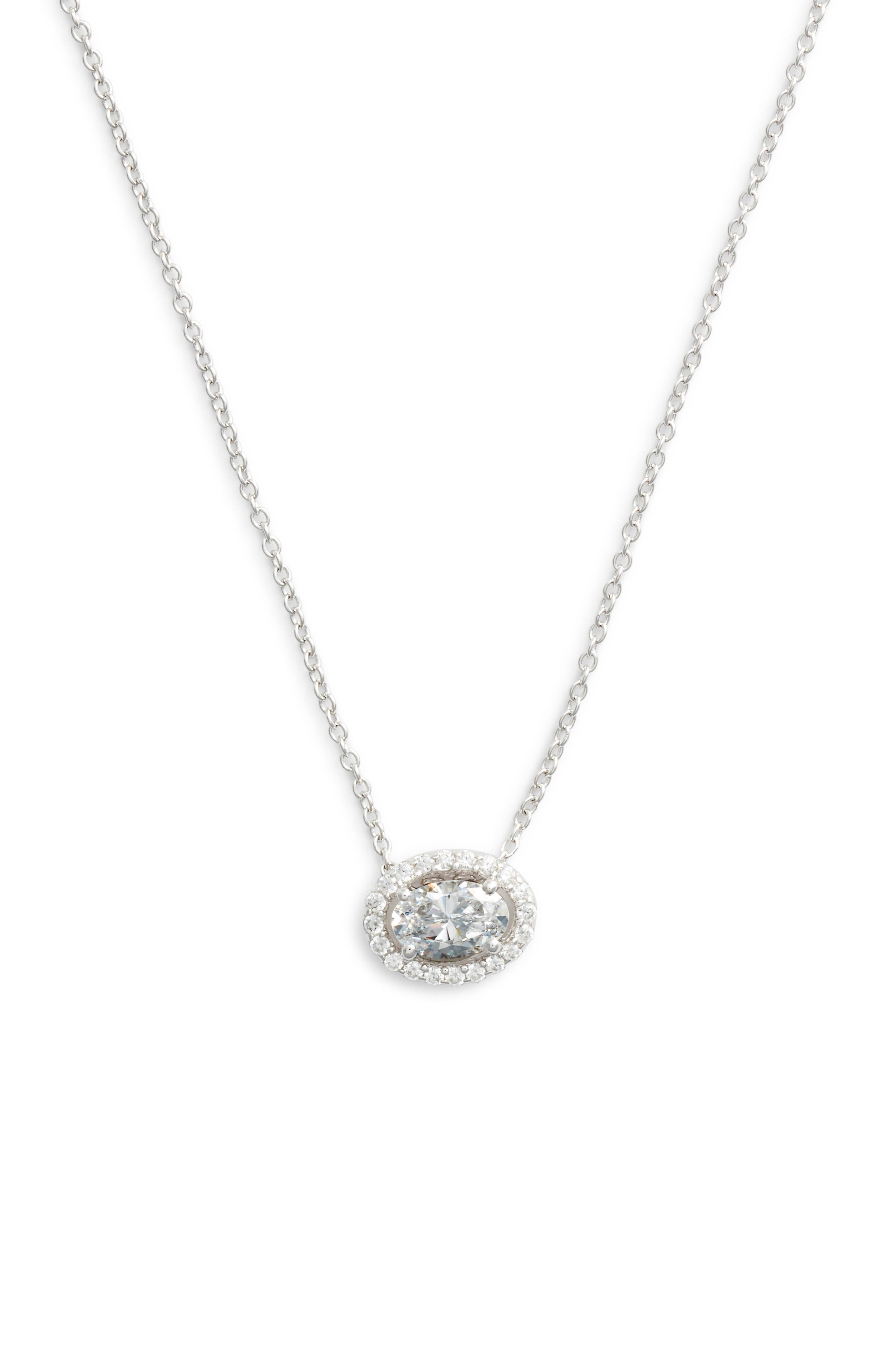 Oval Halo Necklace,                             Main thumbnail 1, color,                             SILVER/ CLEAR