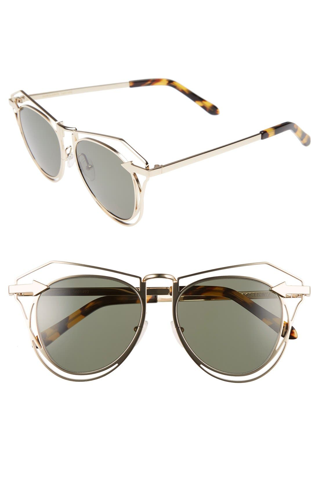 'Marguerite' 52mm Sunglasses,                         Main,                         color, GOLD/ TORTOISE