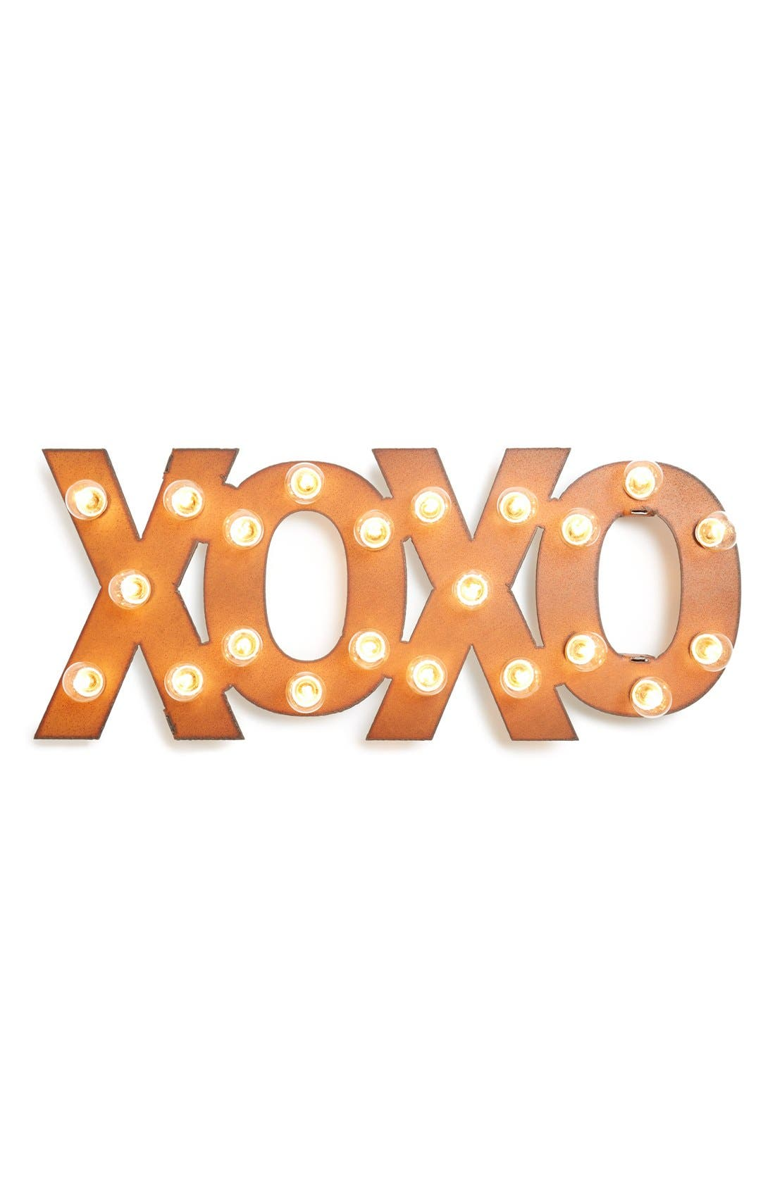 'Marquee Lights - XOXO' Recycled Metal Sign,                             Main thumbnail 1, color,                             220