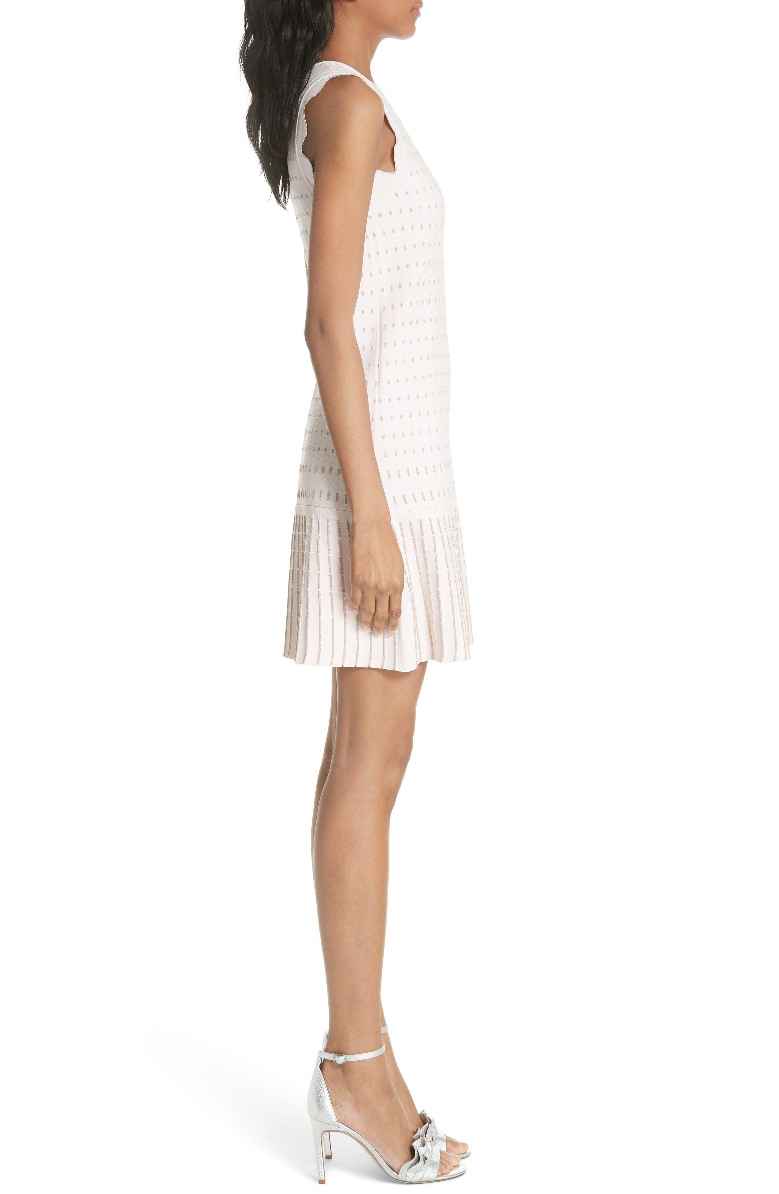 Flippy Metallic Jacquard Dress,                             Alternate thumbnail 3, color,                             BABY PINK