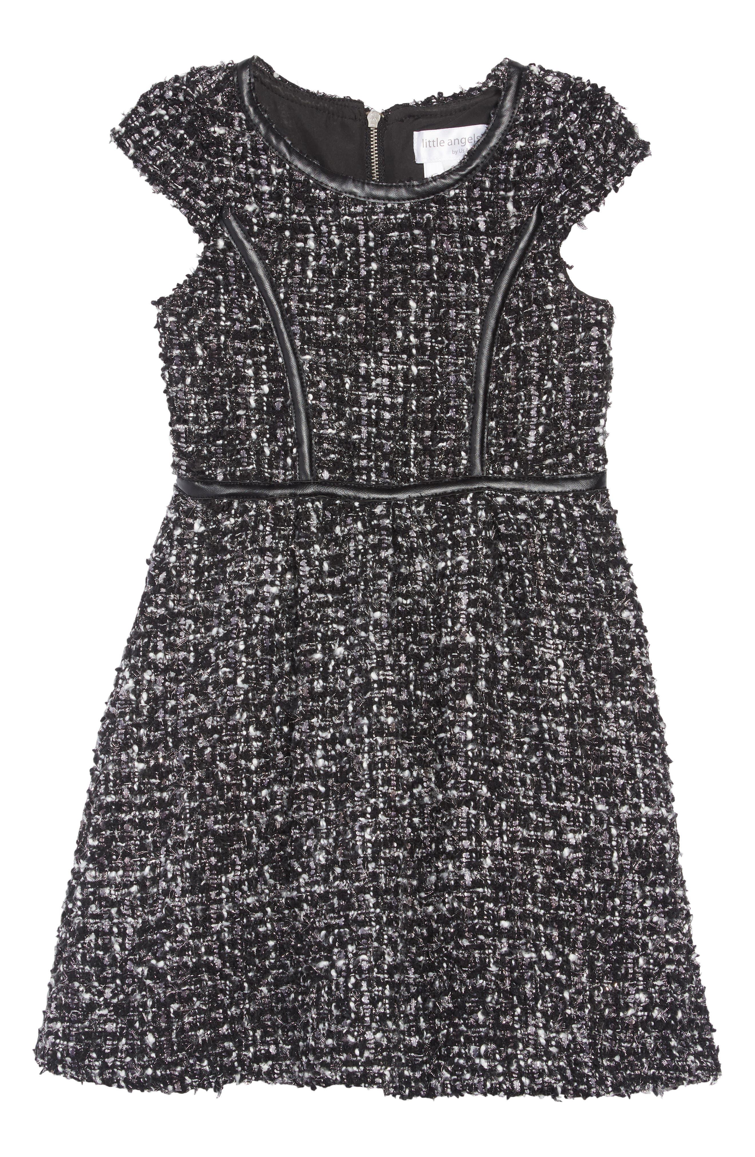 Tweed Dress,                         Main,                         color, BLACK
