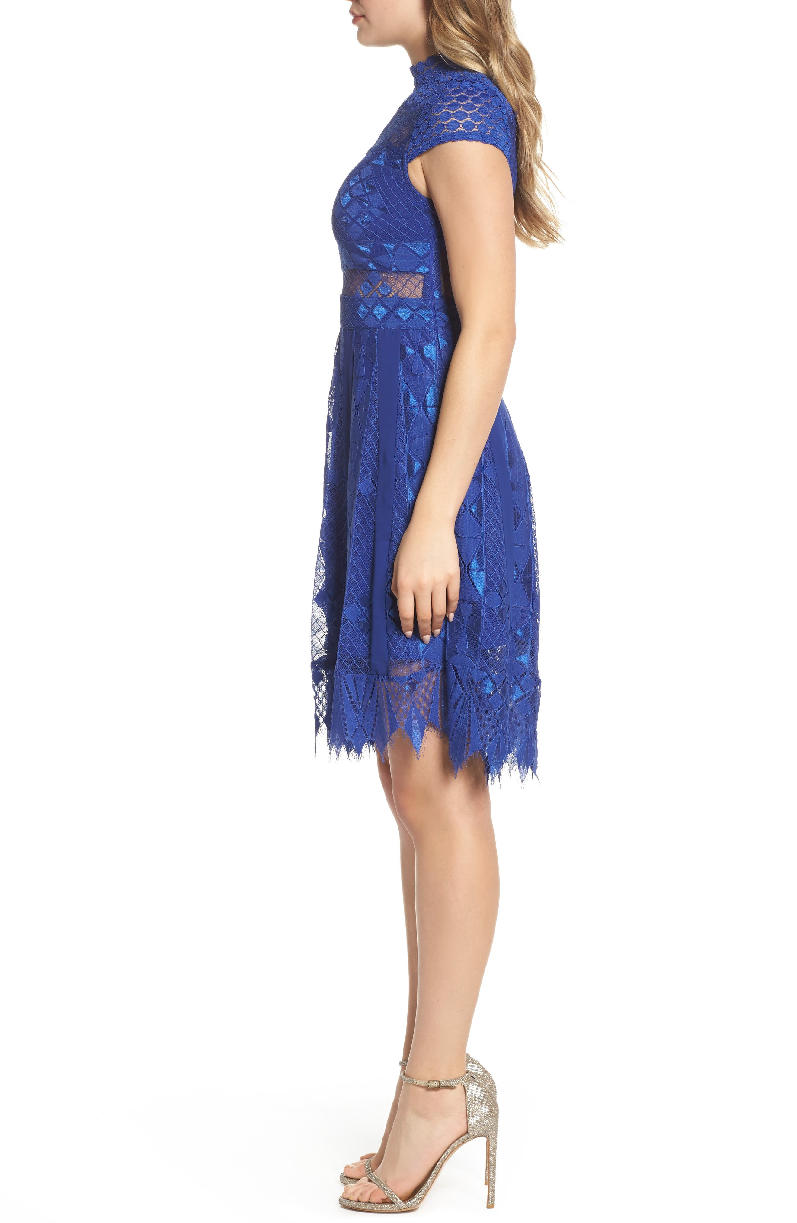 Bravo Zulu Lace Fit & Flare Dress,                             Alternate thumbnail 8, color,