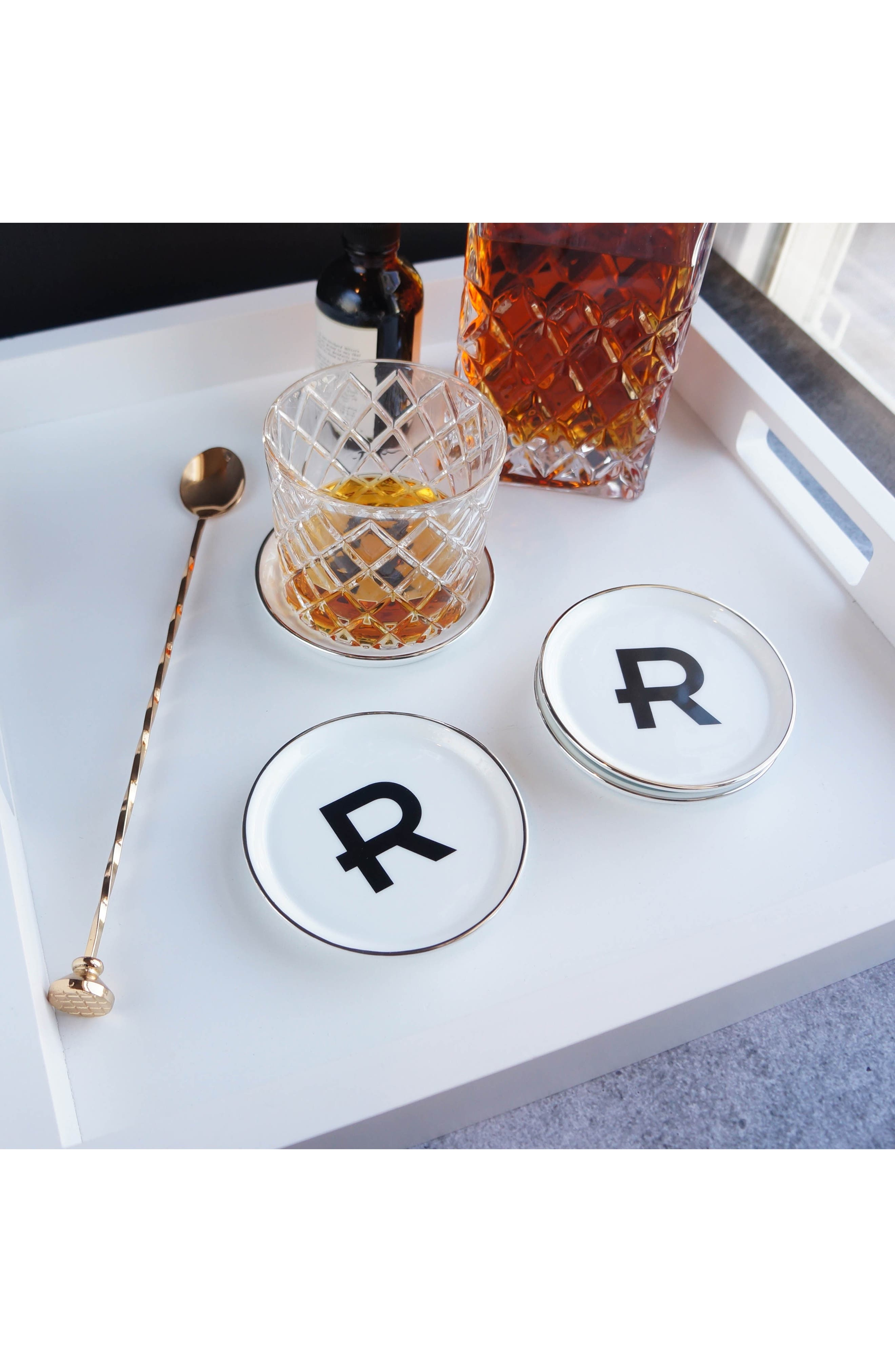 Brooklyn Set of 4 Porcelain Initial Coasters,                             Alternate thumbnail 4, color,                             A