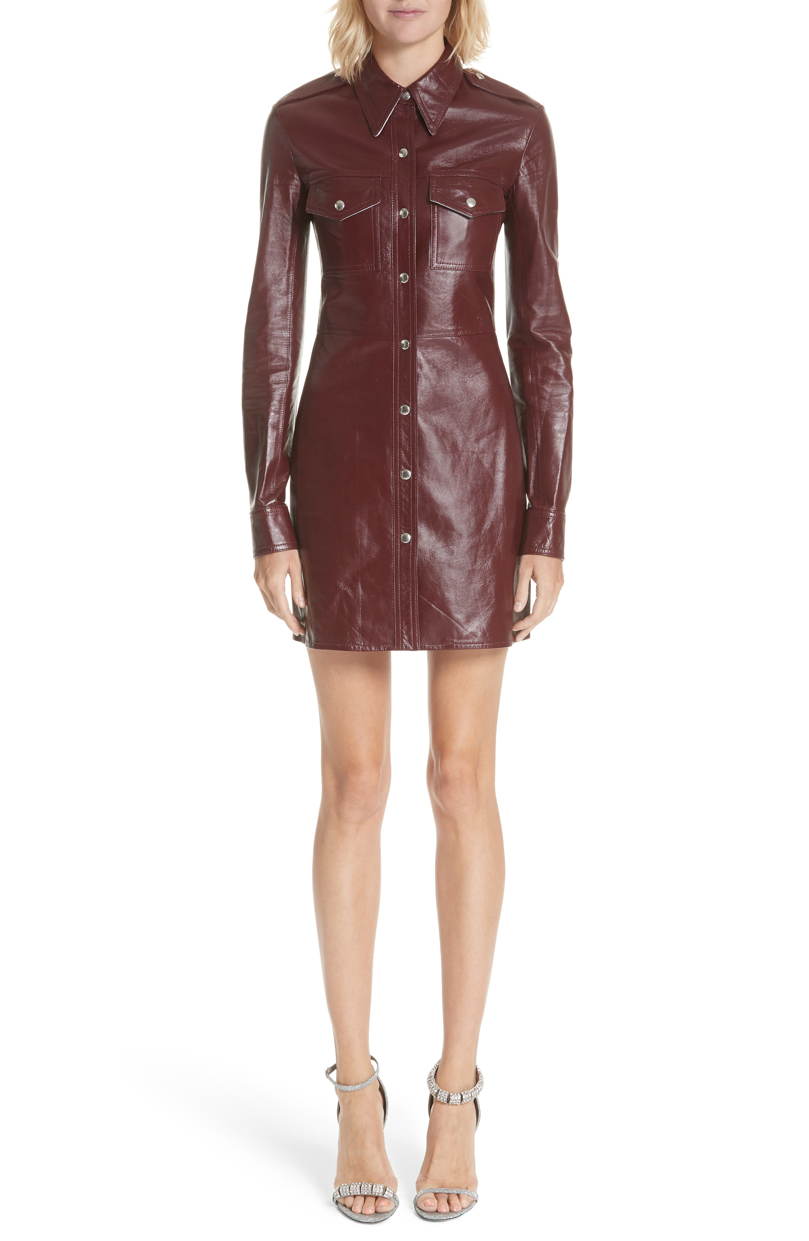 Leather Western Shirtdress,                         Main,                         color, MULBERRY