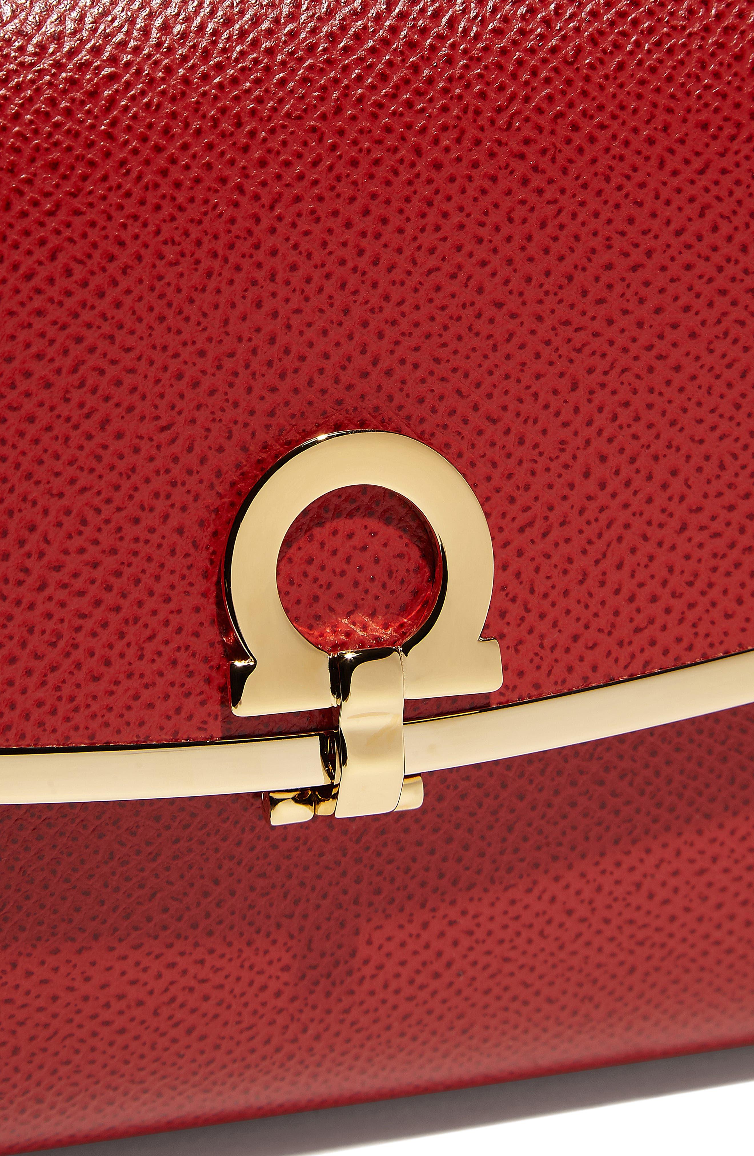 Gancio Calfskin Leather Clutch,                             Alternate thumbnail 4, color,                             LIPSTICK