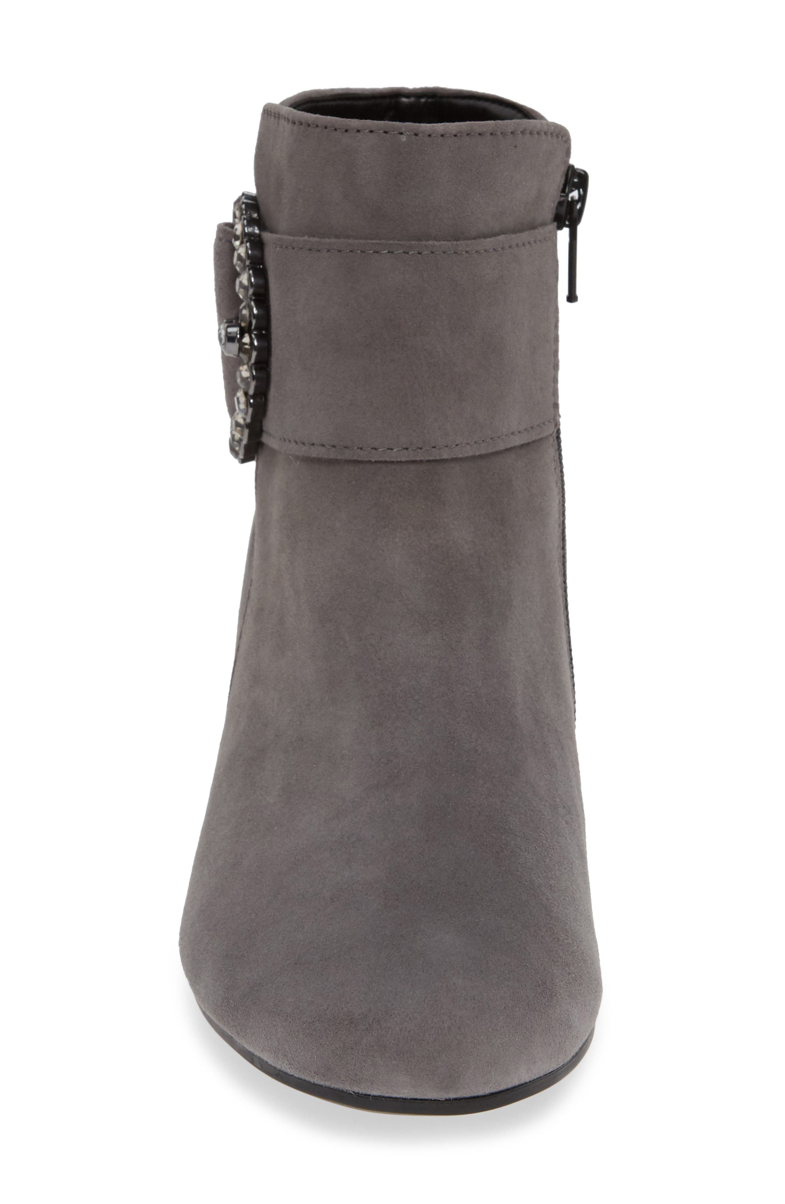 Fashion Bootie,                             Alternate thumbnail 4, color,                             DARK GREY LEATHER