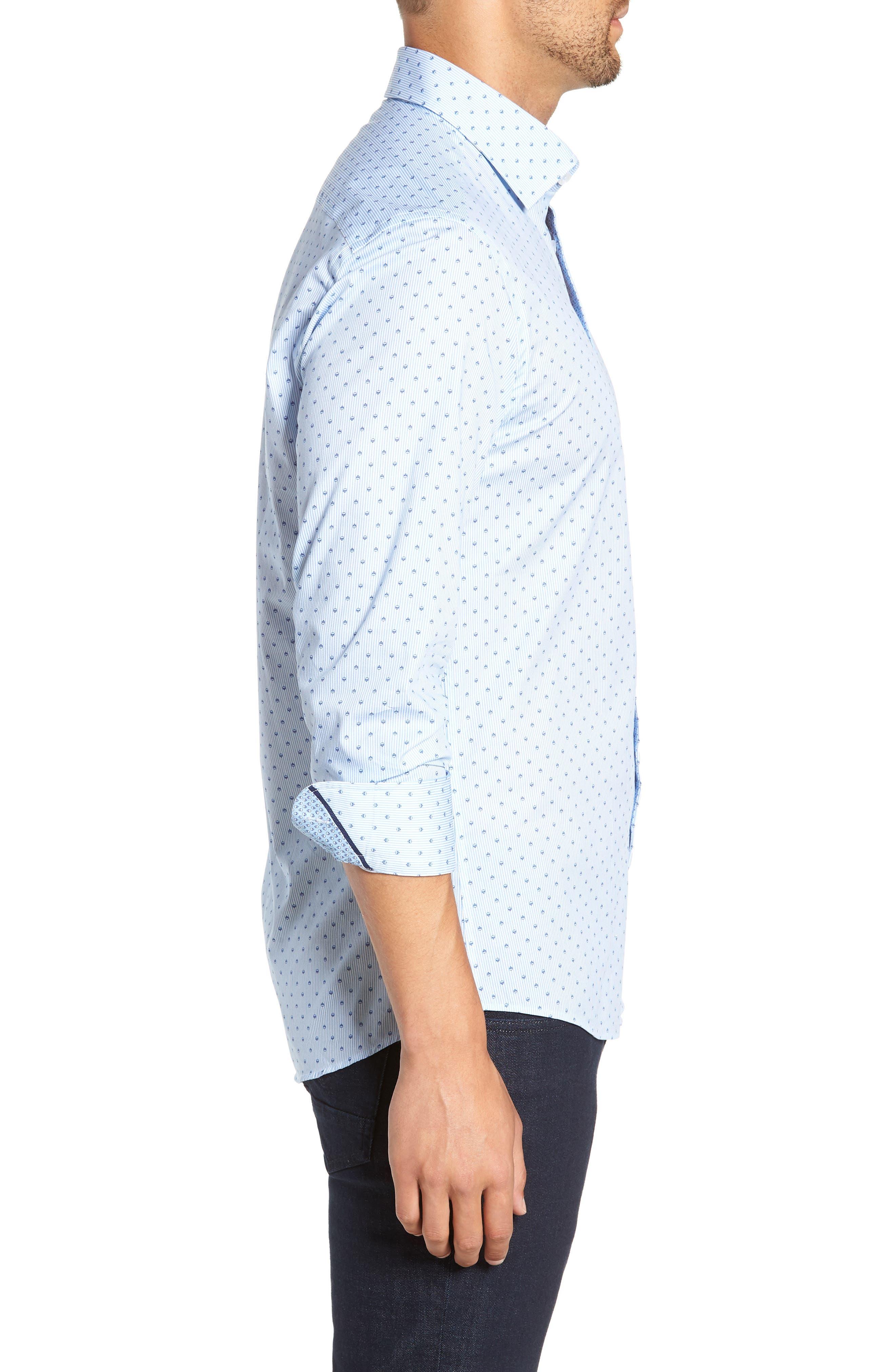 Trim Fit Print Sport Shirt,                             Alternate thumbnail 4, color,                             BLUE
