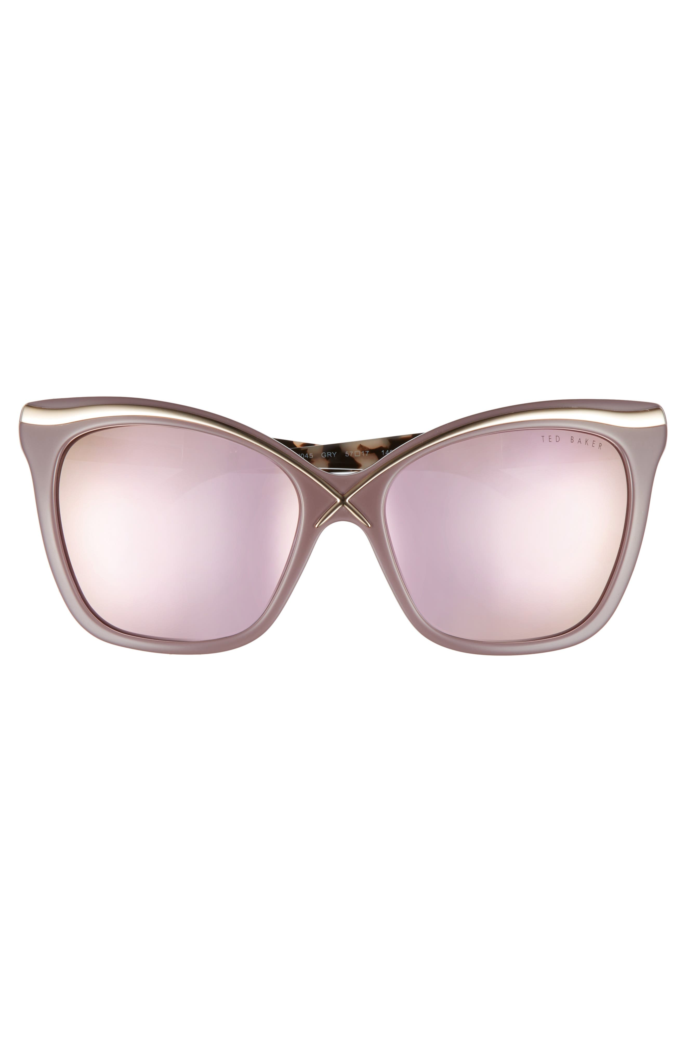 57mm Square Cat Eye Sunglasses,                             Alternate thumbnail 8, color,
