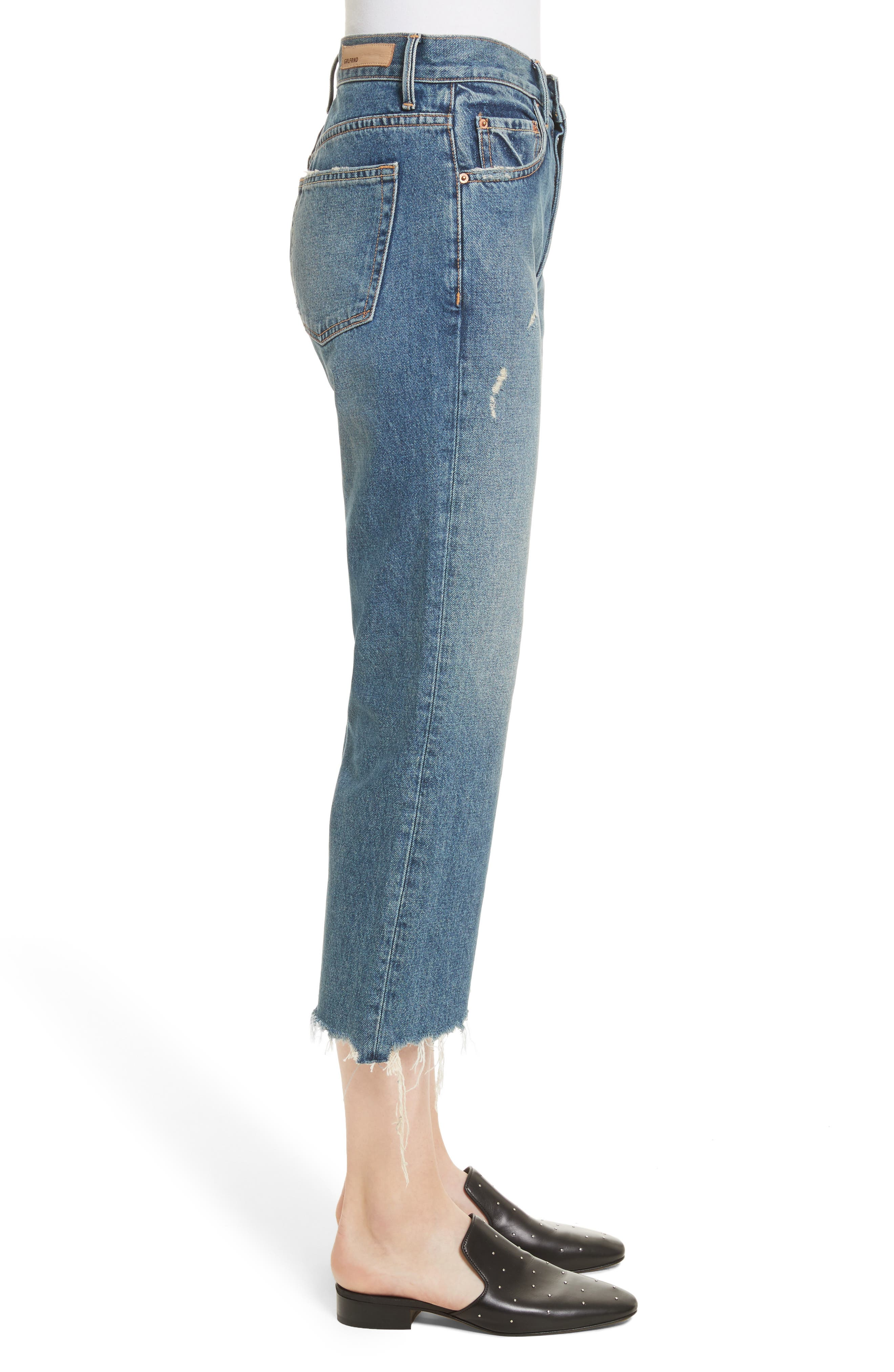 Linda Ripped Rigid High Waist Pop Crop Jeans,                             Alternate thumbnail 3, color,                             489