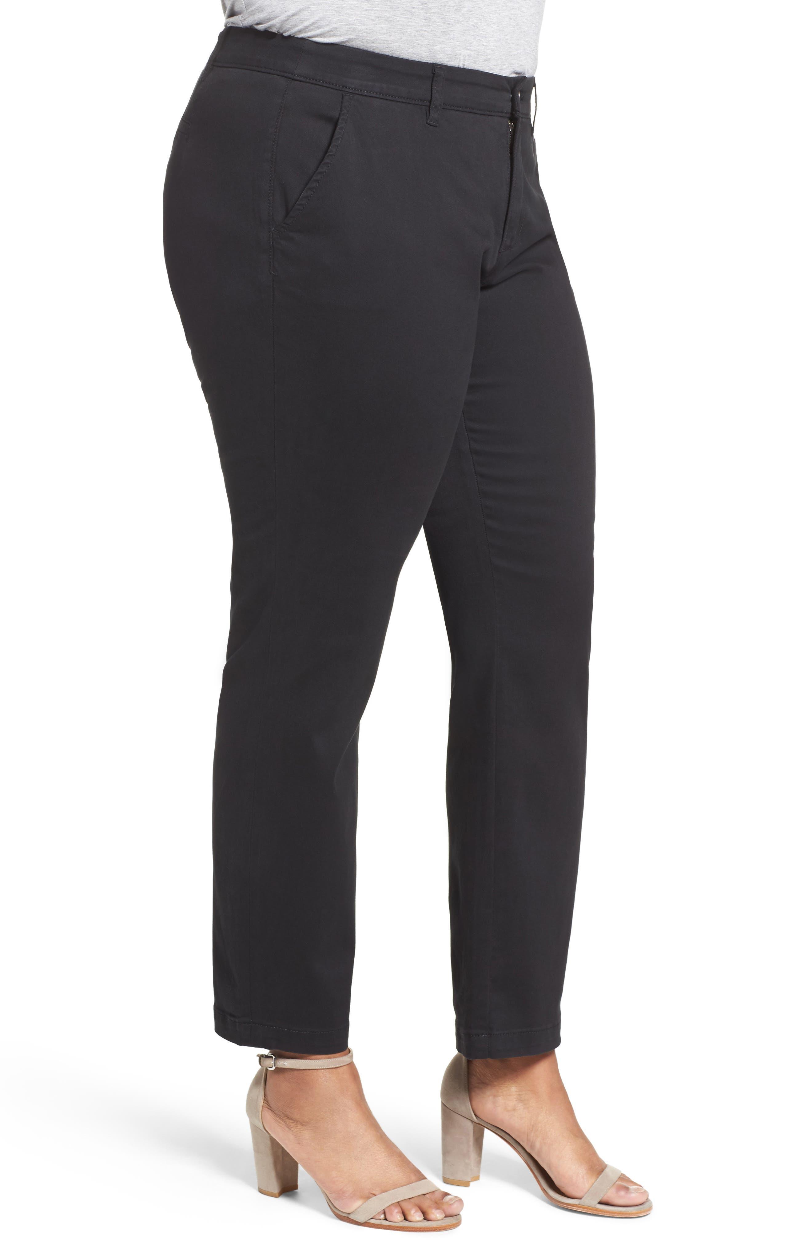 Stretch Cotton Ankle Pants,                             Alternate thumbnail 3, color,                             001