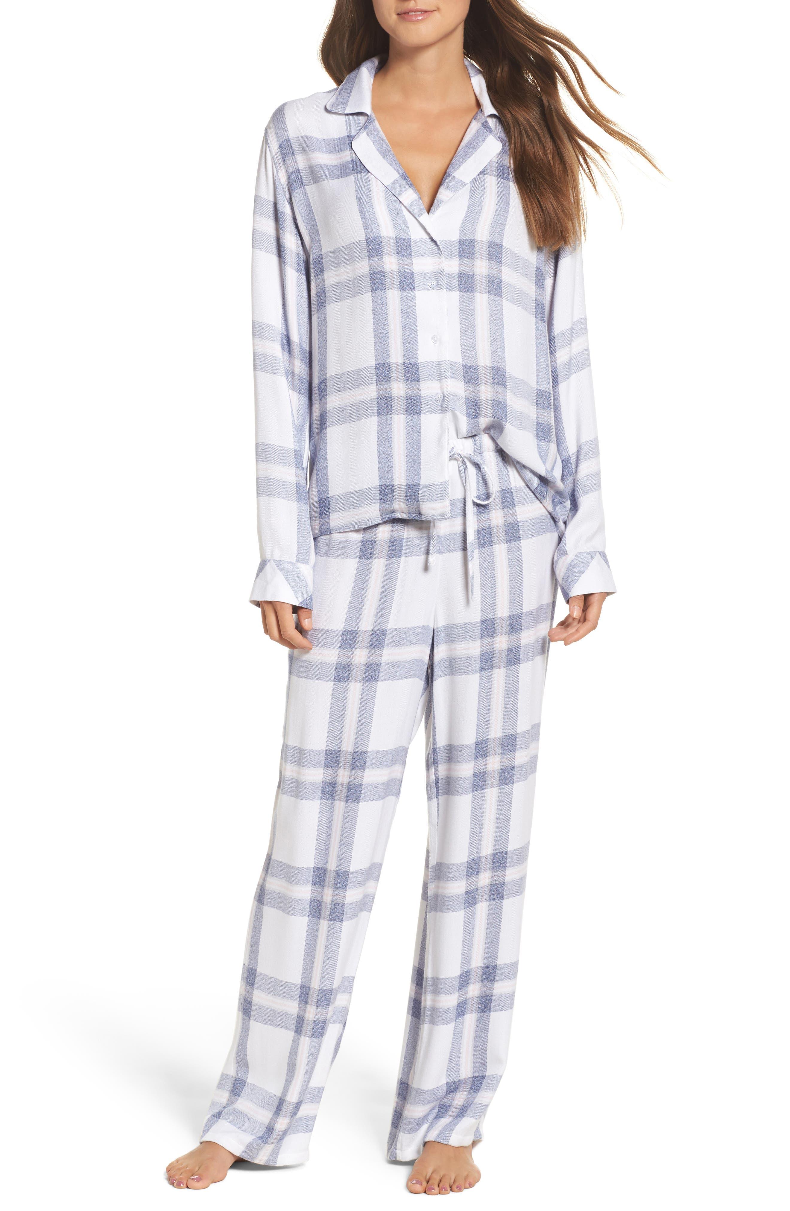 Plaid Pajamas,                             Main thumbnail 1, color,                             WHITE/ CHAMBRAY/ PETAL