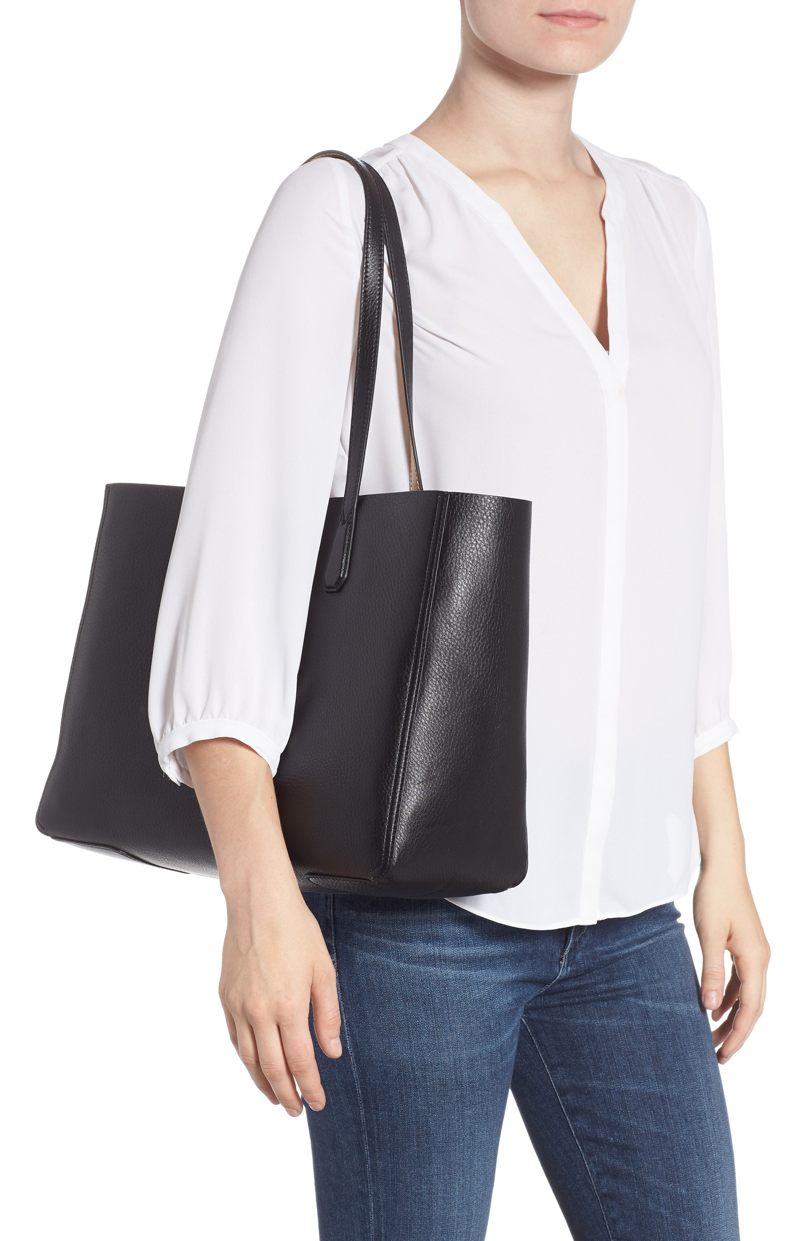 Perry Leather Tote,                             Alternate thumbnail 2, color,                             001