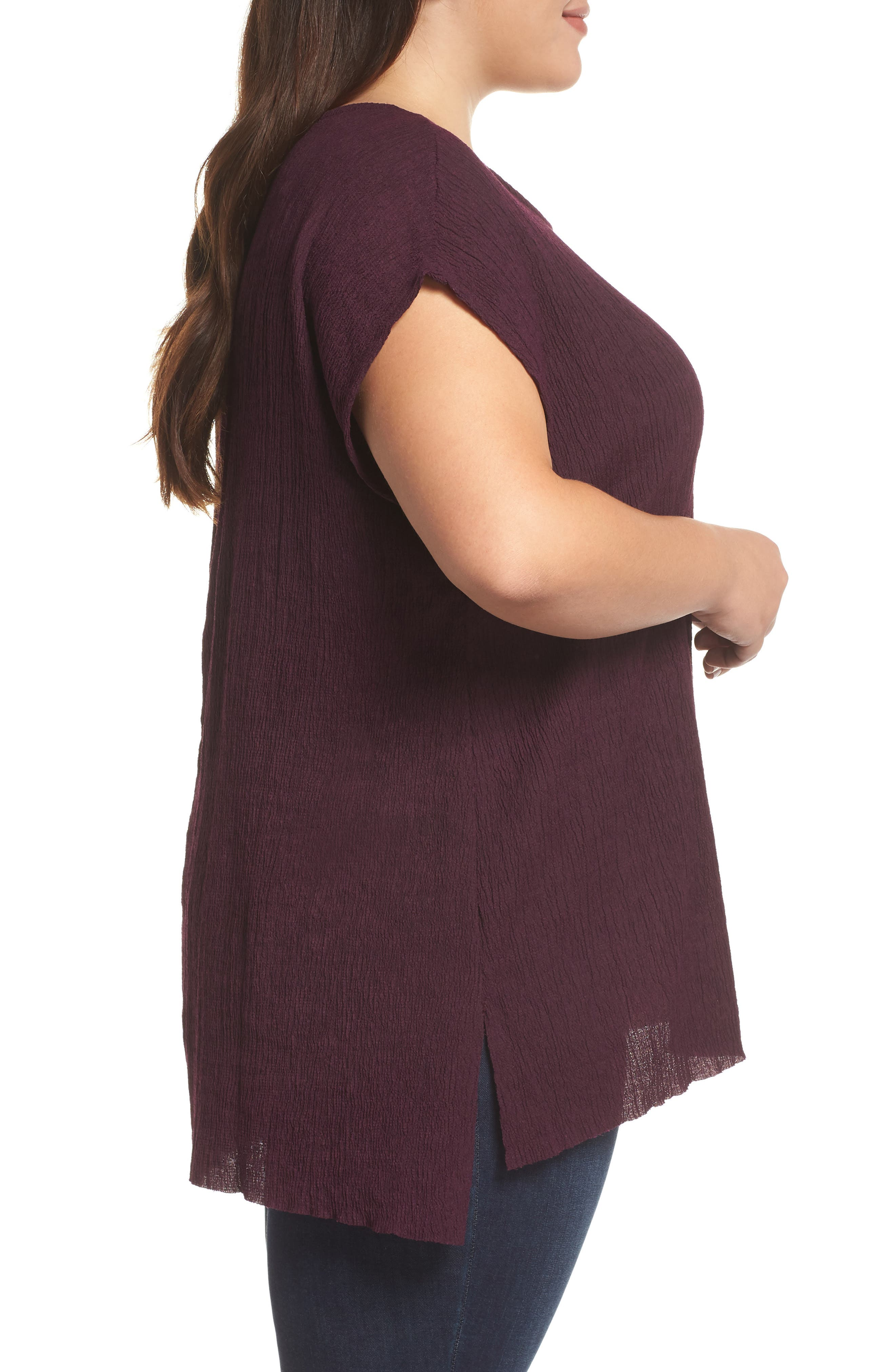High/Low Crinkle Top,                             Alternate thumbnail 3, color,                             PLUM WINE