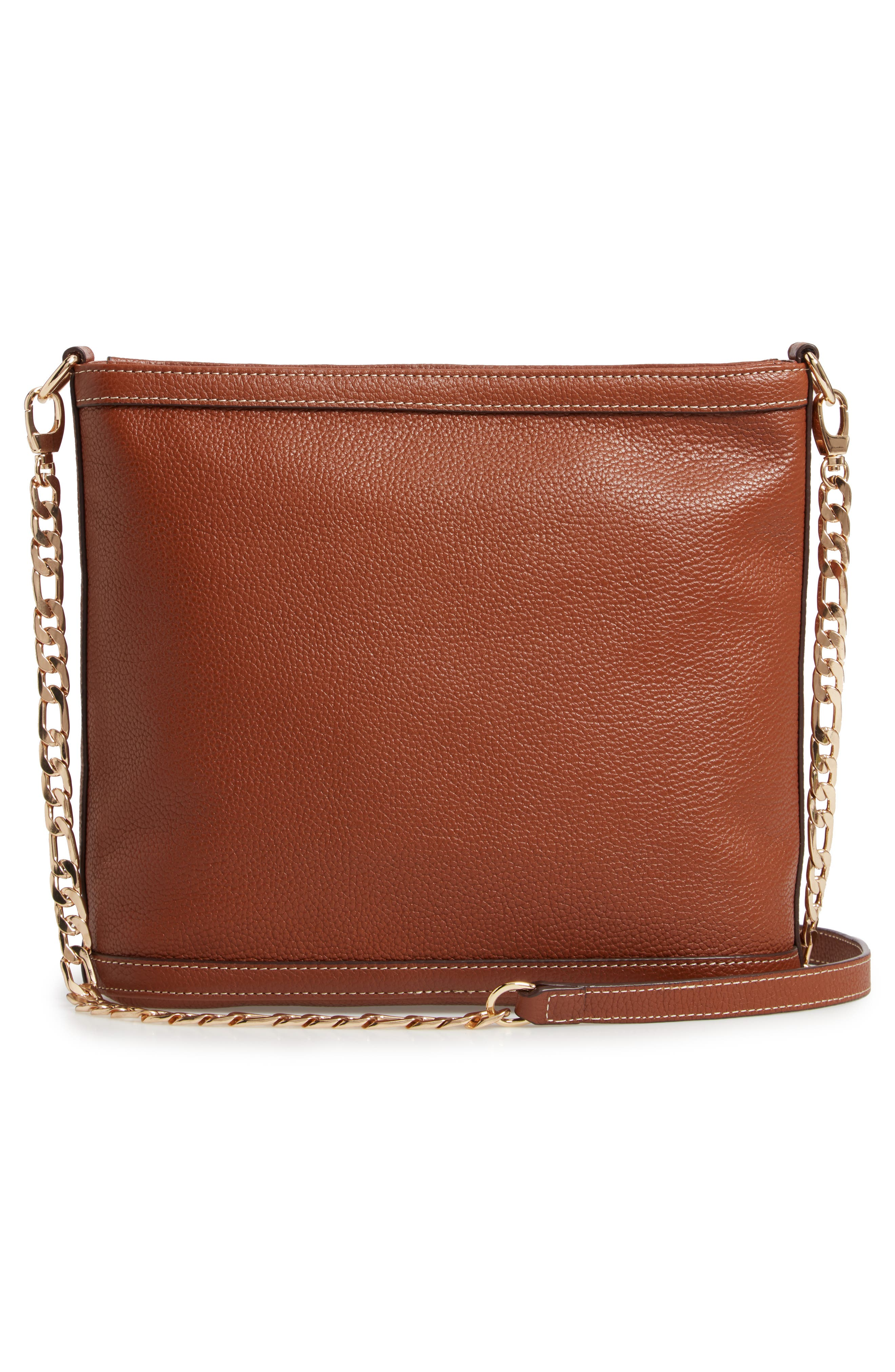 NORDSTROM,                             Maribel Leather Crossbody Bag,                             Alternate thumbnail 3, color,                             BROWN AZTEC