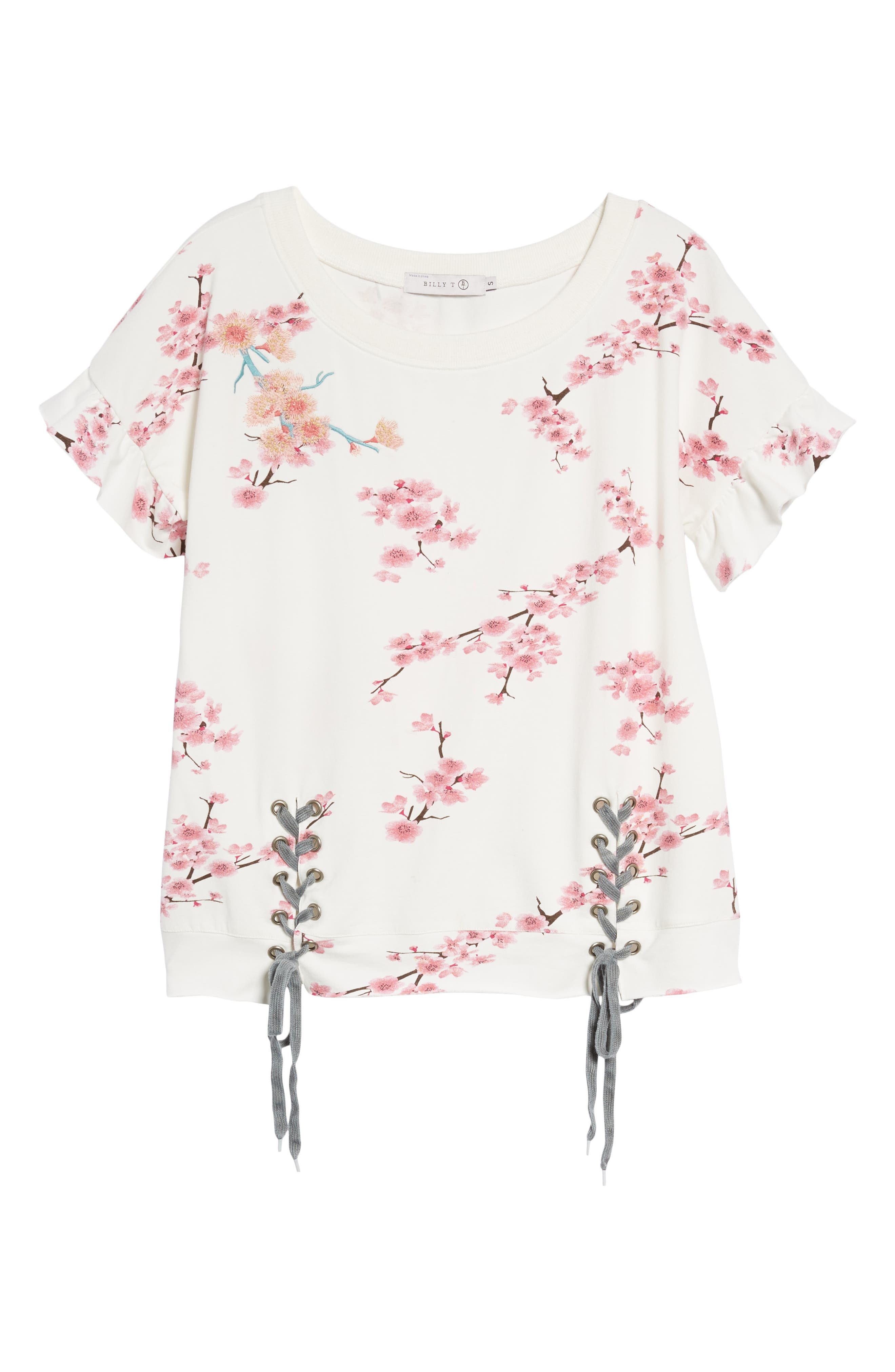 Cherry Blossom Short Sleeve Lace-Up Sweatshirt,                             Alternate thumbnail 6, color,                             WHITE CHERRY BLOSSOM