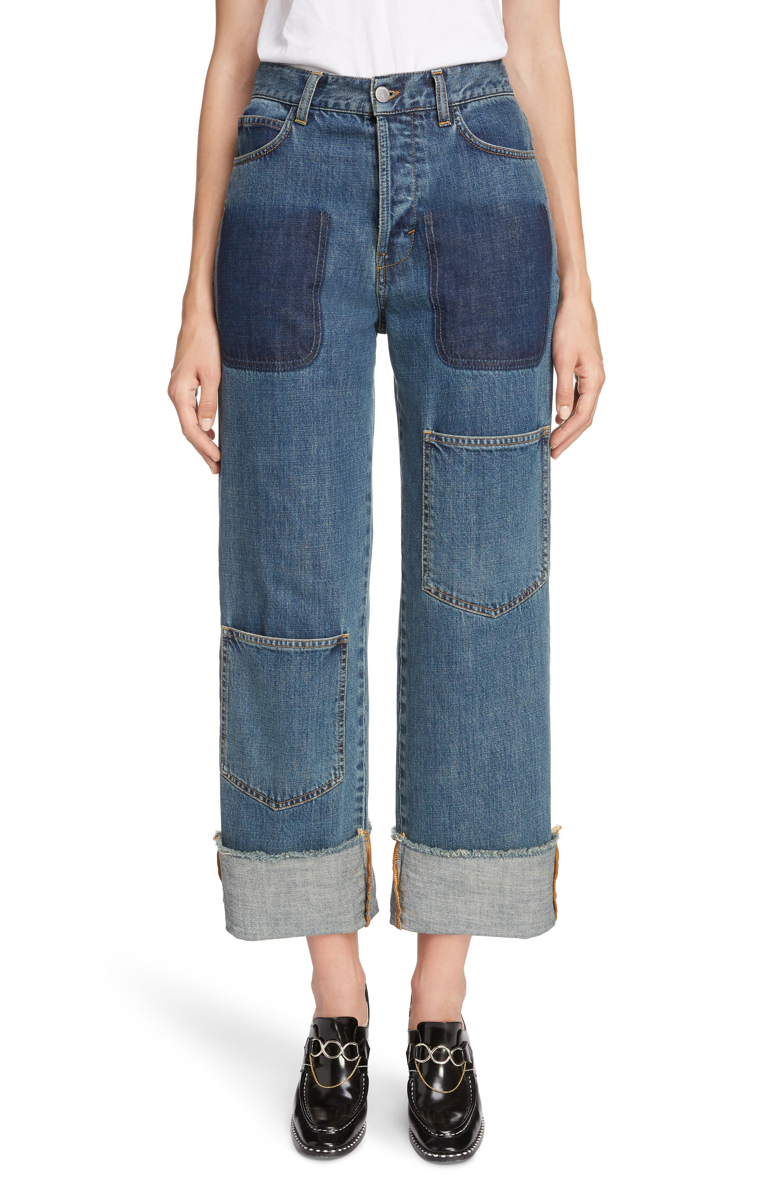 Shaded Pocket Wide Leg Ankle Jeans,                             Main thumbnail 1, color,                             MID BLUE