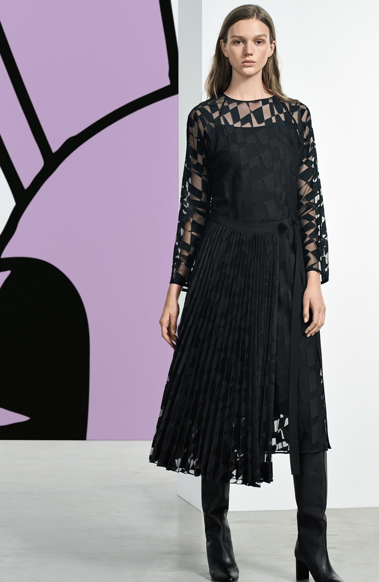 Dalace Pleat & Geo Print Midi Dress,                             Alternate thumbnail 7, color,                             BLACK
