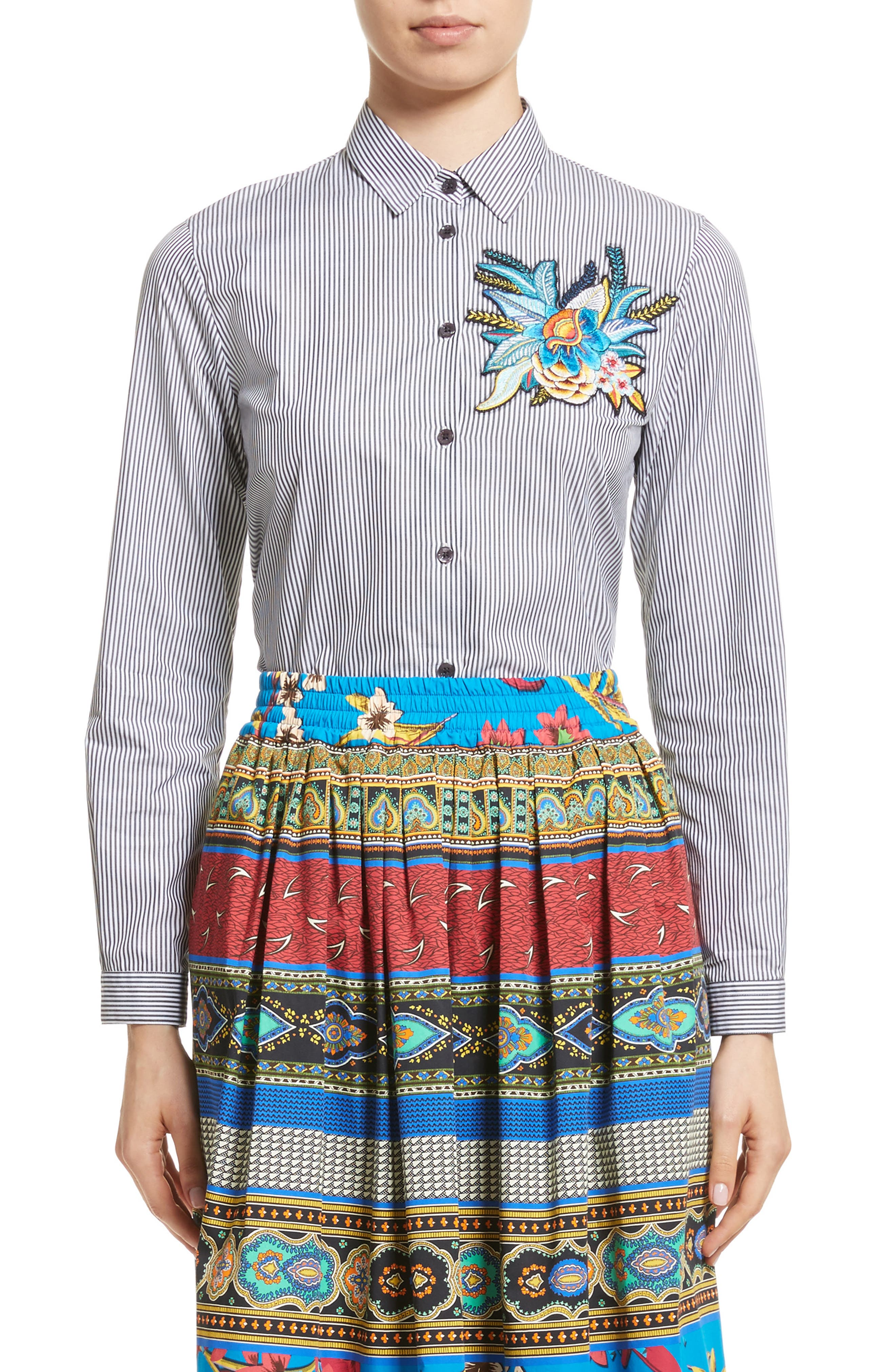 Embroidered Patch Stripe Shirt,                         Main,                         color,